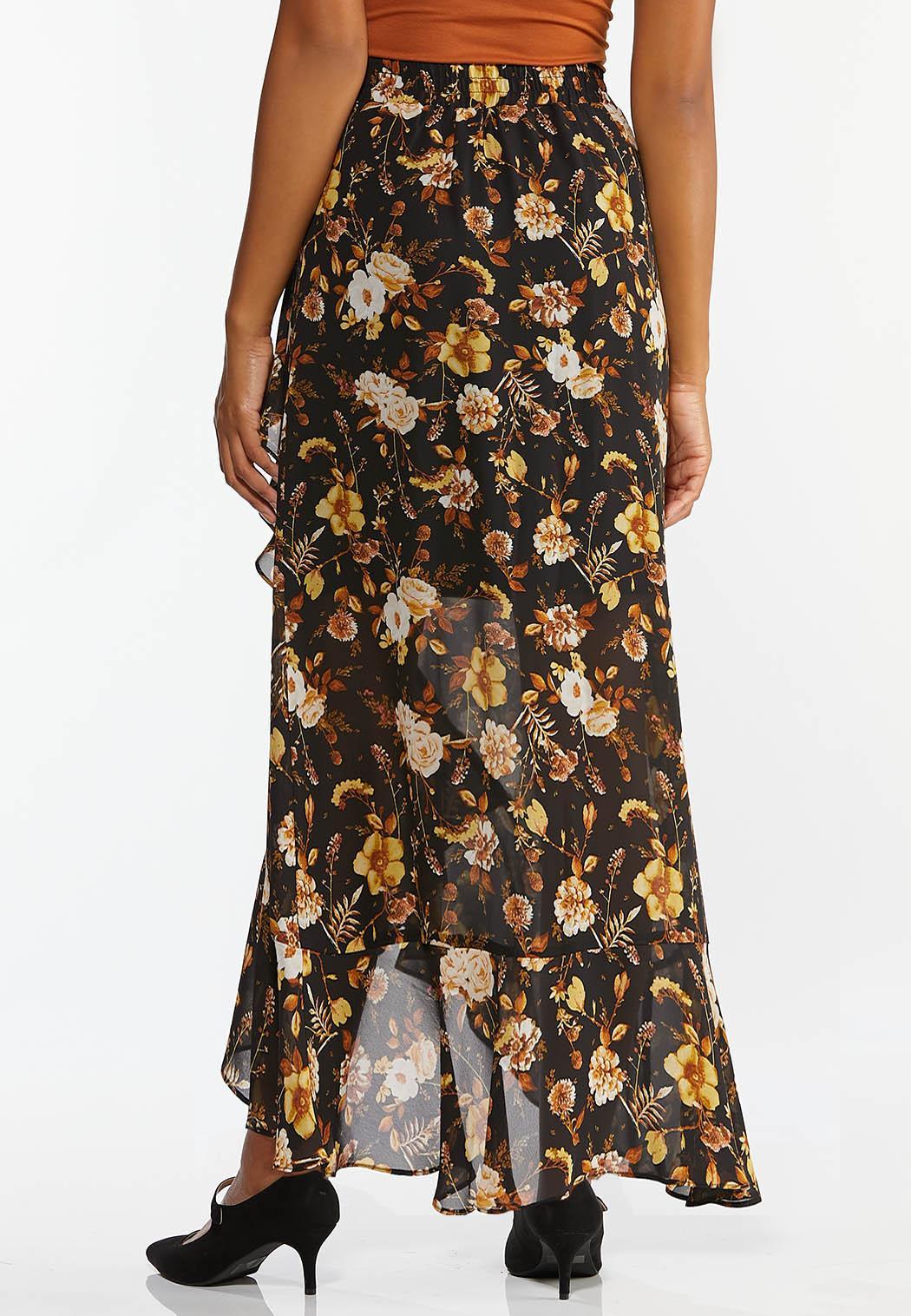 Floral Faux Wrap Maxi Skirt (Item #44381369)