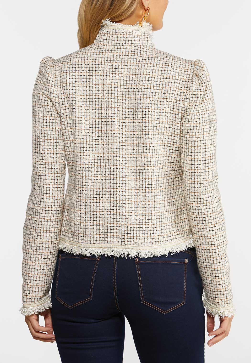 Plus  Size Tweed Fringe Jacket (Item #44381515)