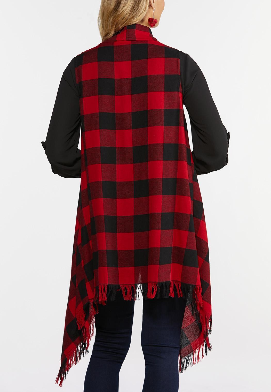 Plus Size Buffalo Plaid Fringe Vest (Item #44381533)