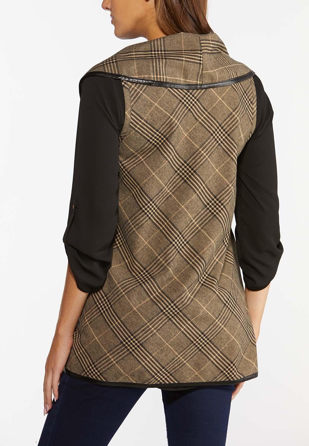 Plaid Faux Trim Vest (Item #44381541)
