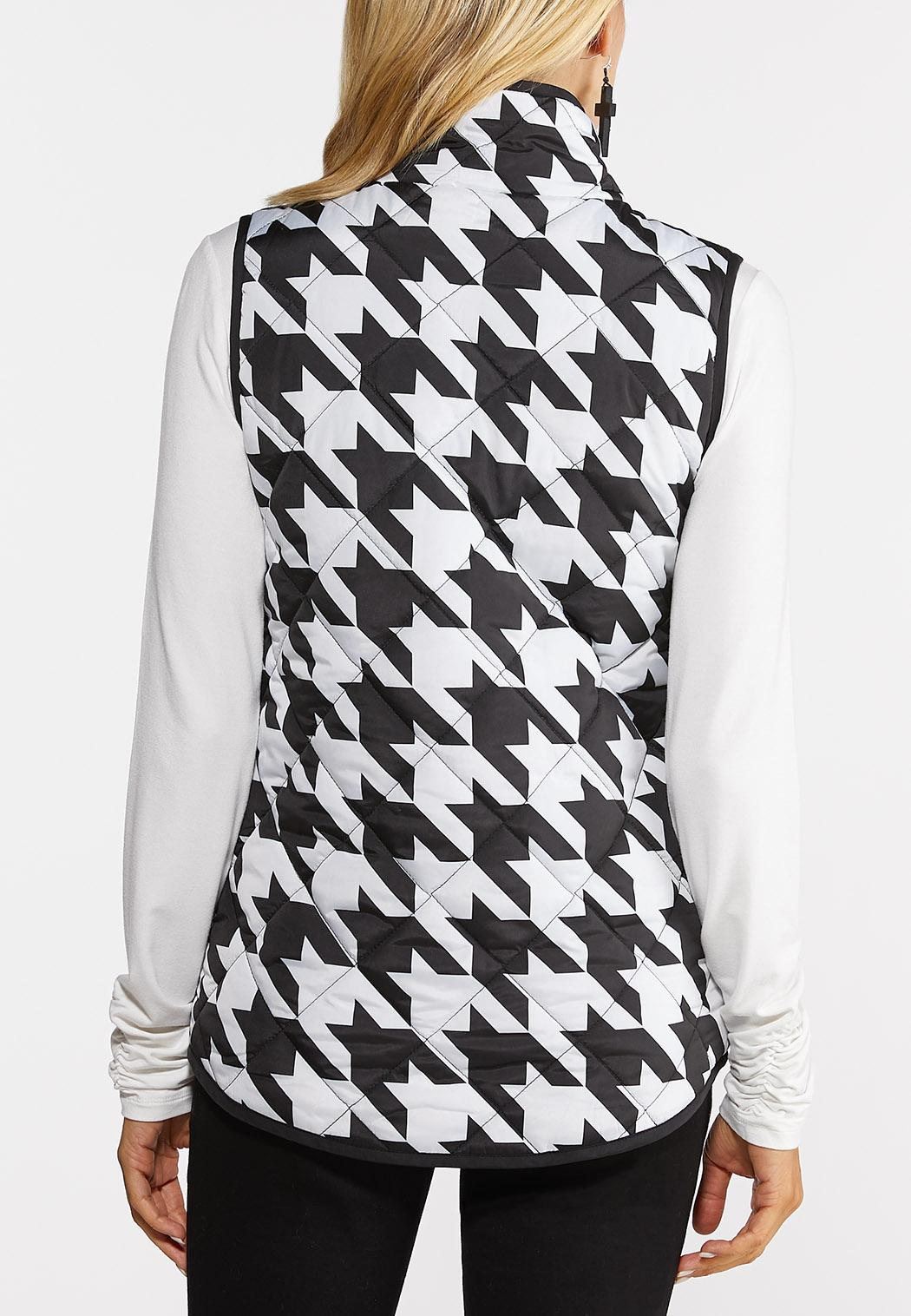 Plus Size Houndstooth Puffer Vest (Item #44381672)