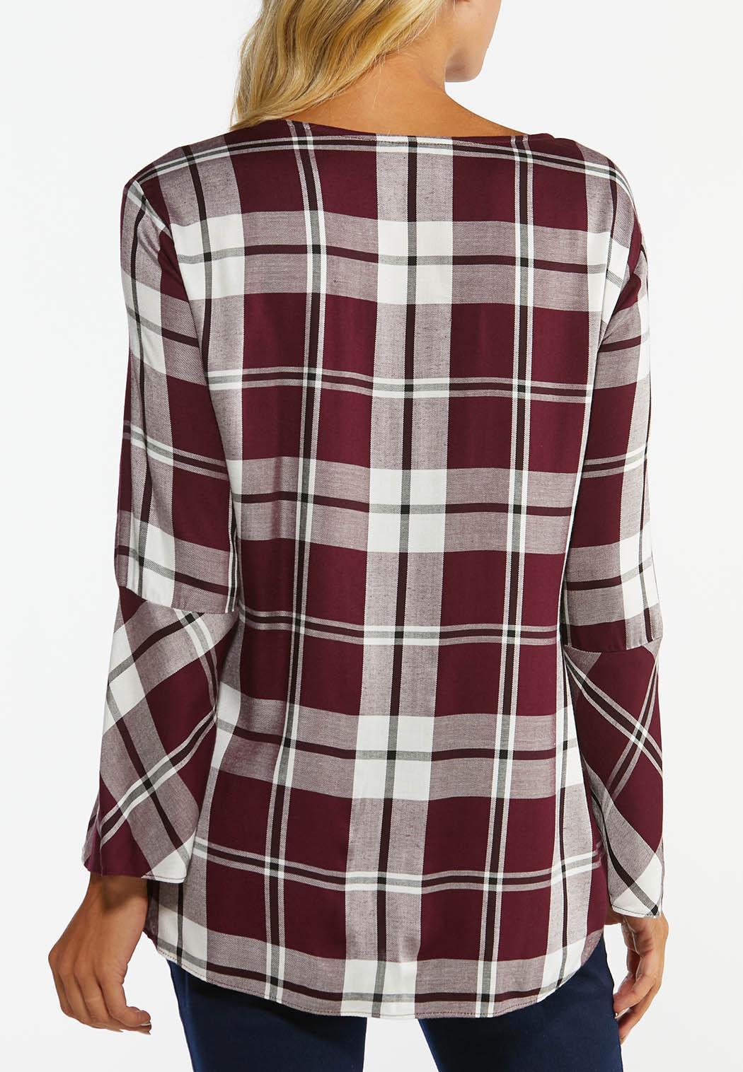 Plus Size Plaid Tie Front Top (Item #44383091)