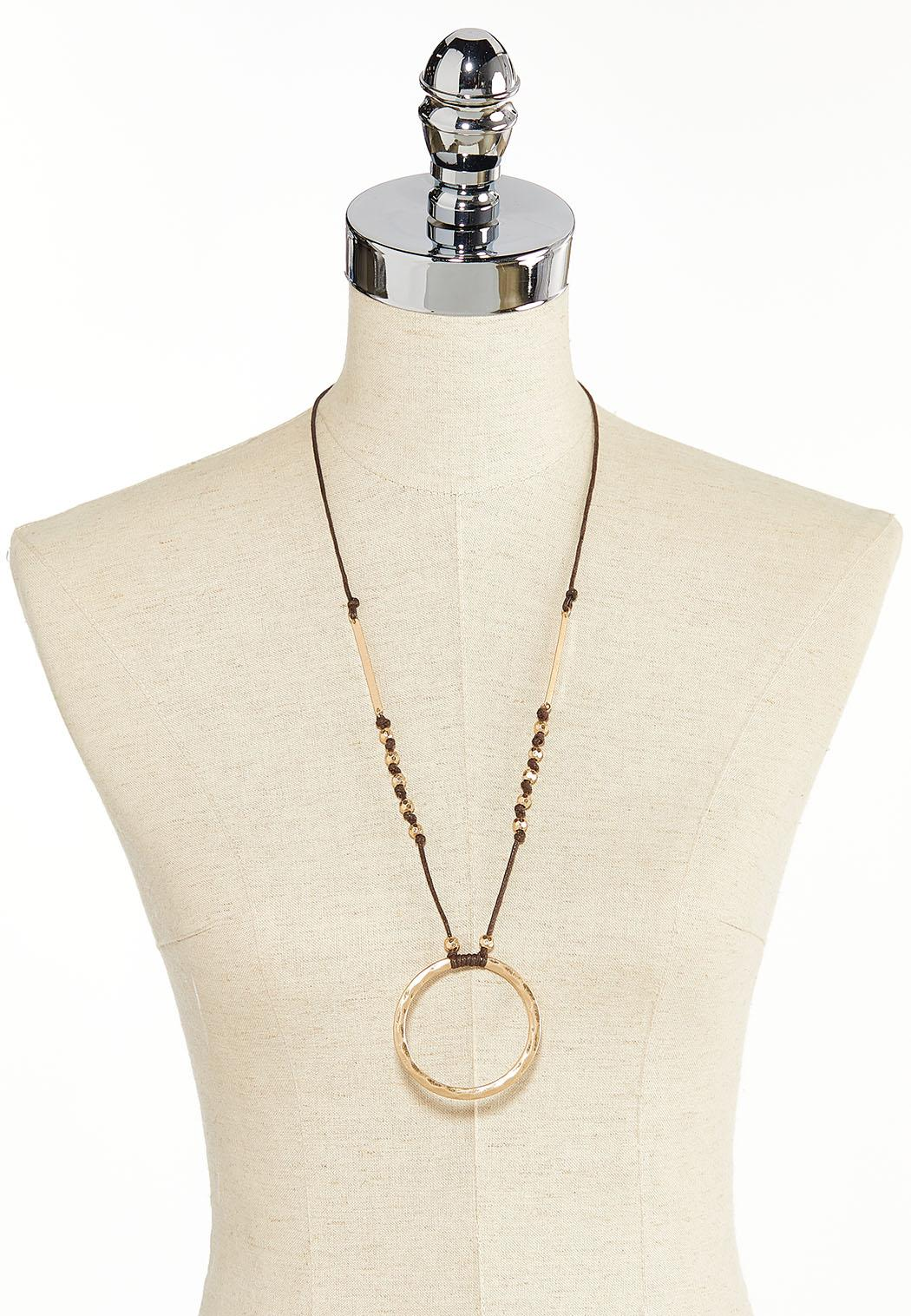 Hammered Circle Pendant Necklace (Item #44383579)