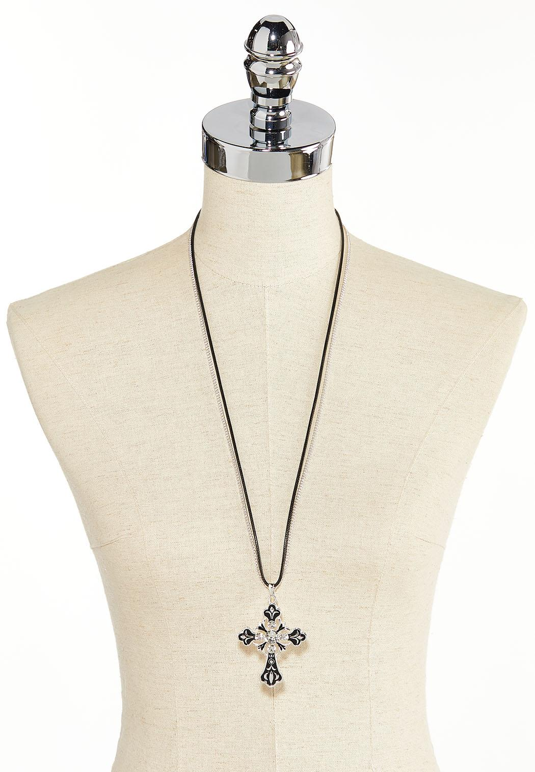 Cord Chain Cross Pendant Necklace (Item #44383630)