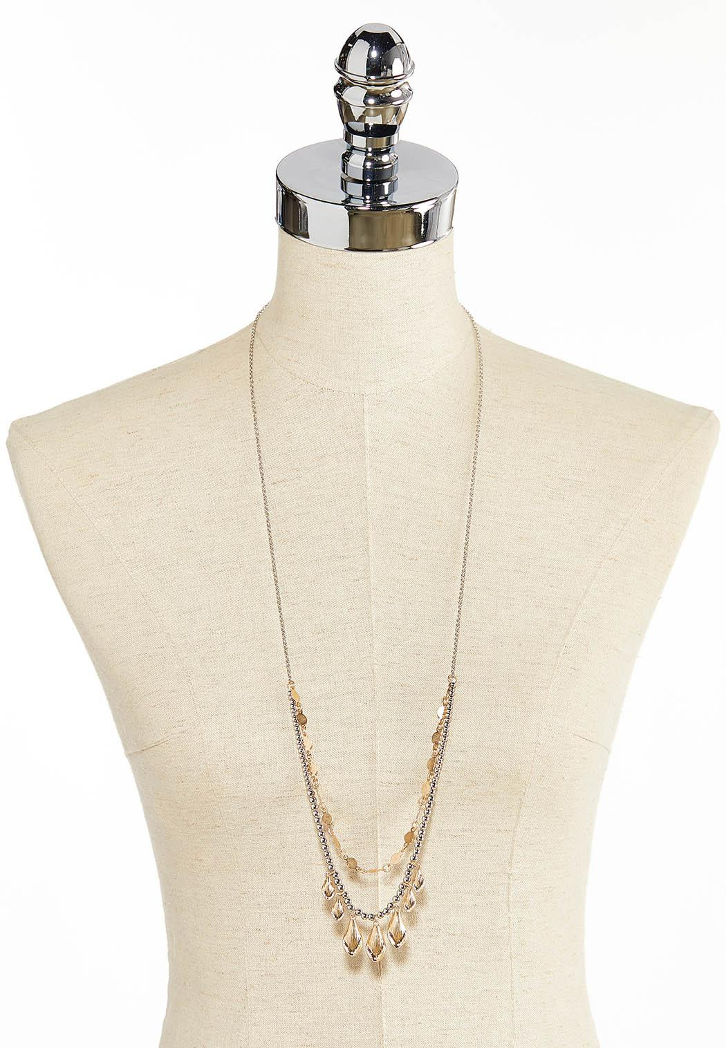 Shaky Bead Layered Chain Necklace (Item #44383633)