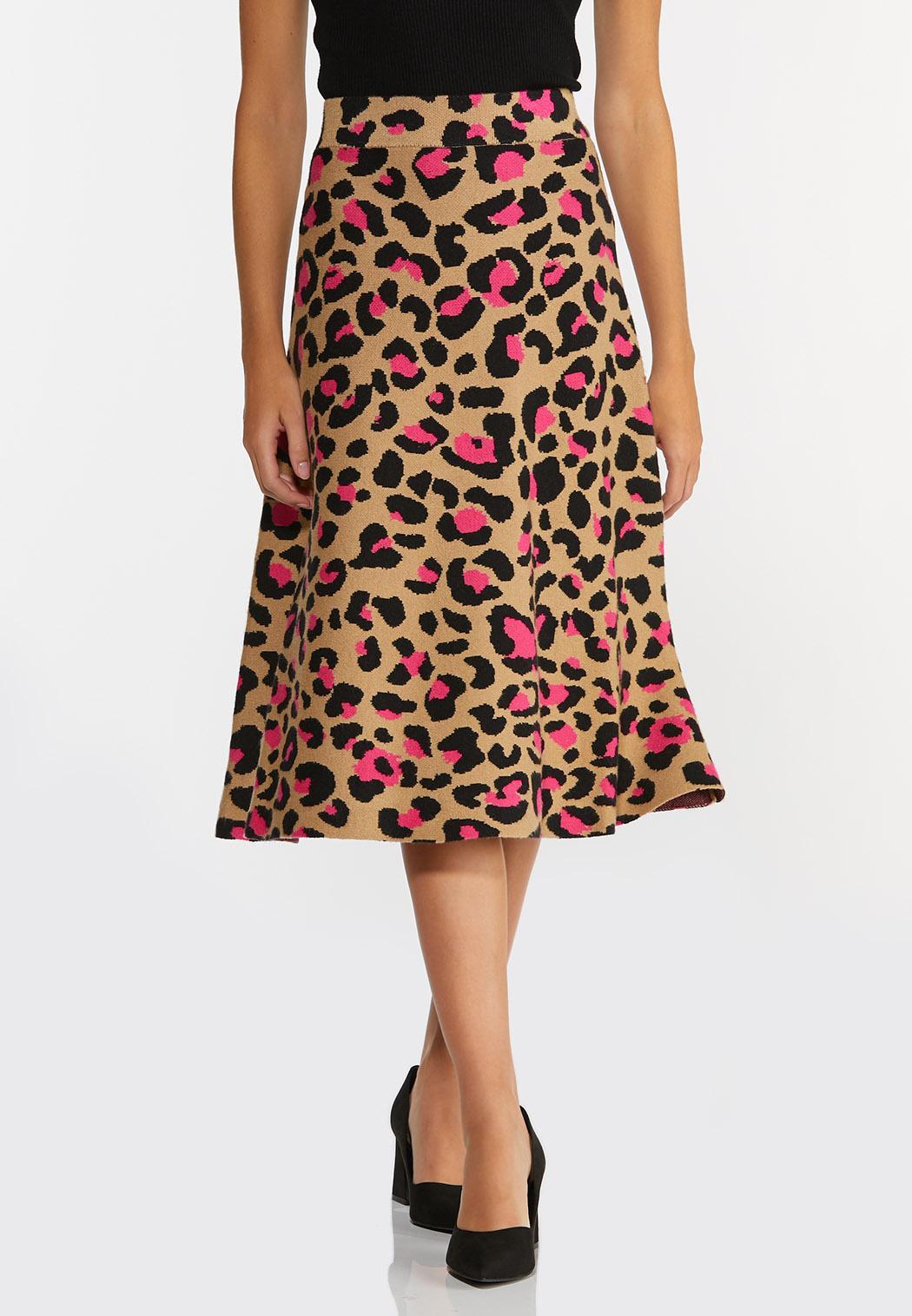 Plus Size Pink Leopard Sweater Skirt (Item #44384826)