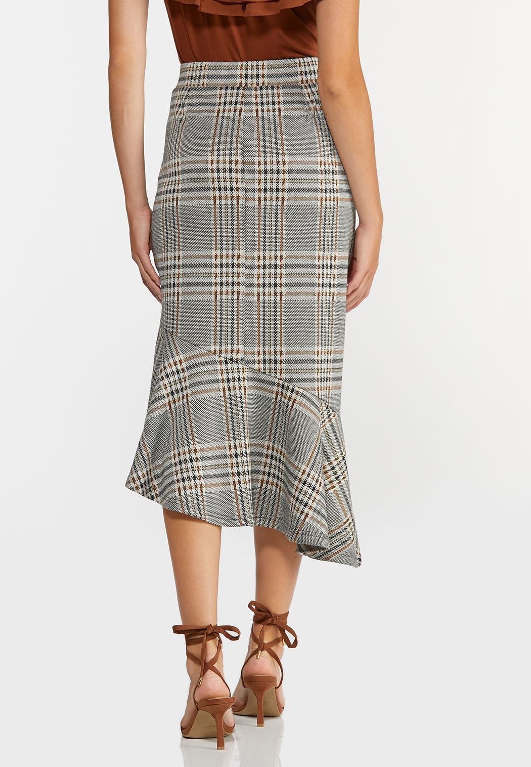 Plus Size Plaid Flounced Midi Skirt (Item #44384847)