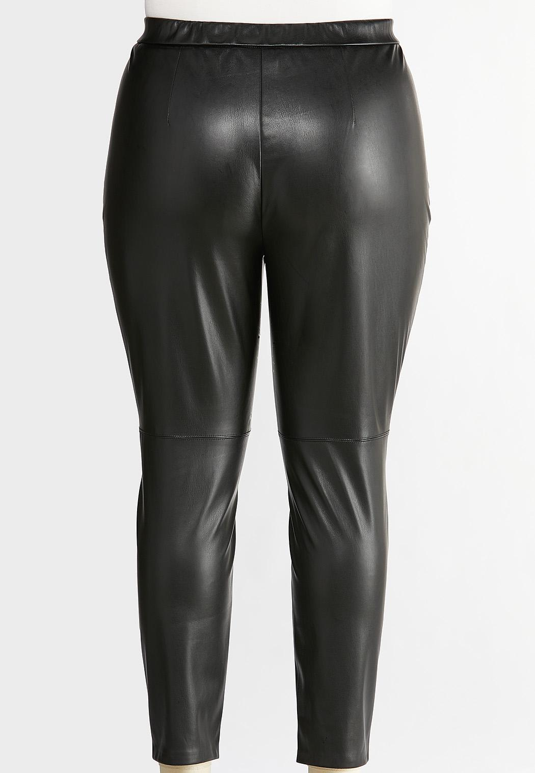 Plus Size Faux Leather Leggings (Item #44384855)