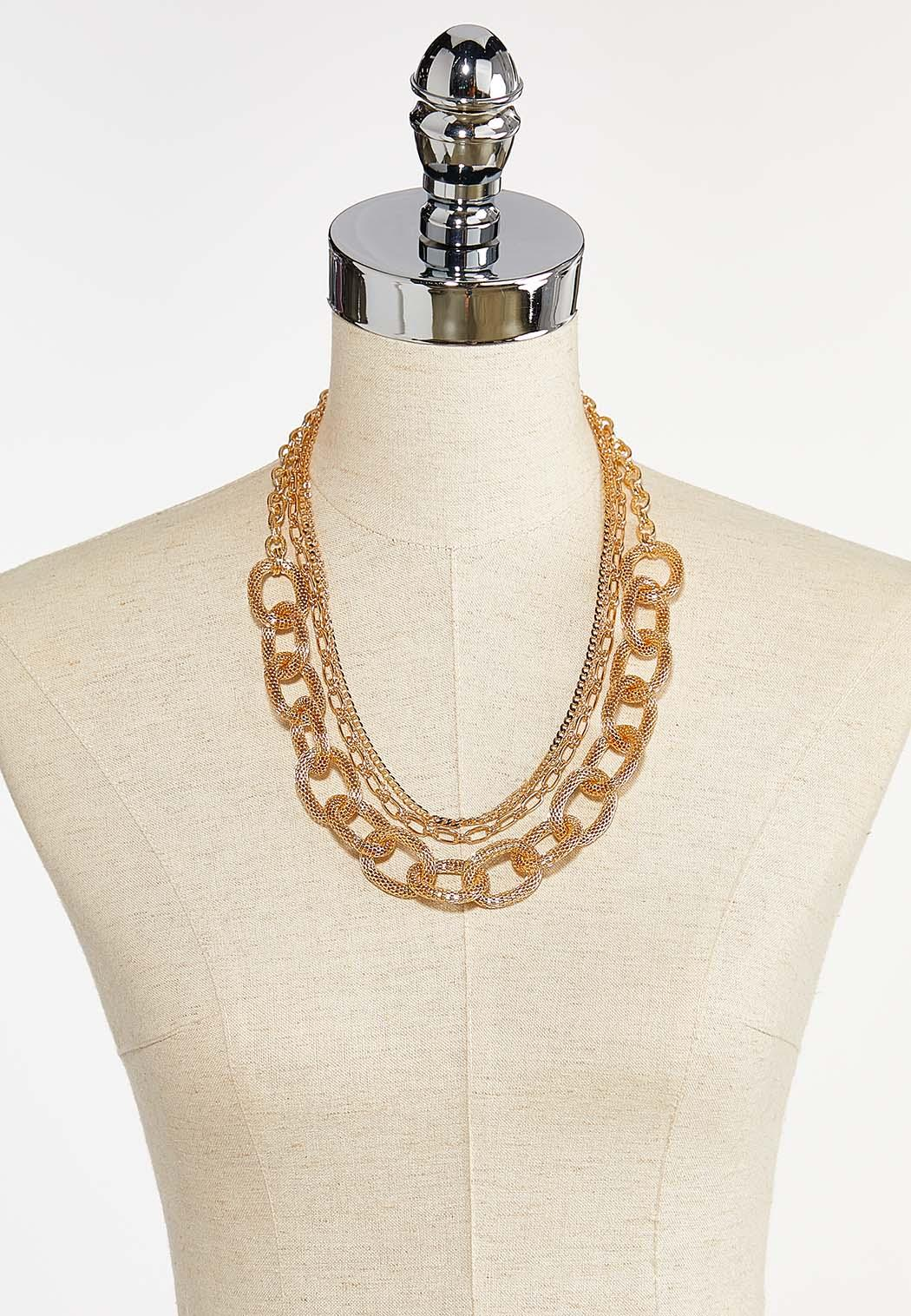 Layered Mixed Gold Chain Necklace (Item #44385003)