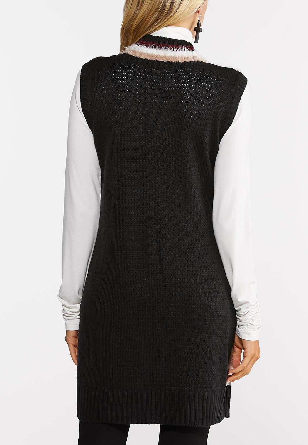 Fuzzy Stripe Cardigan Sweater (Item #44385208)