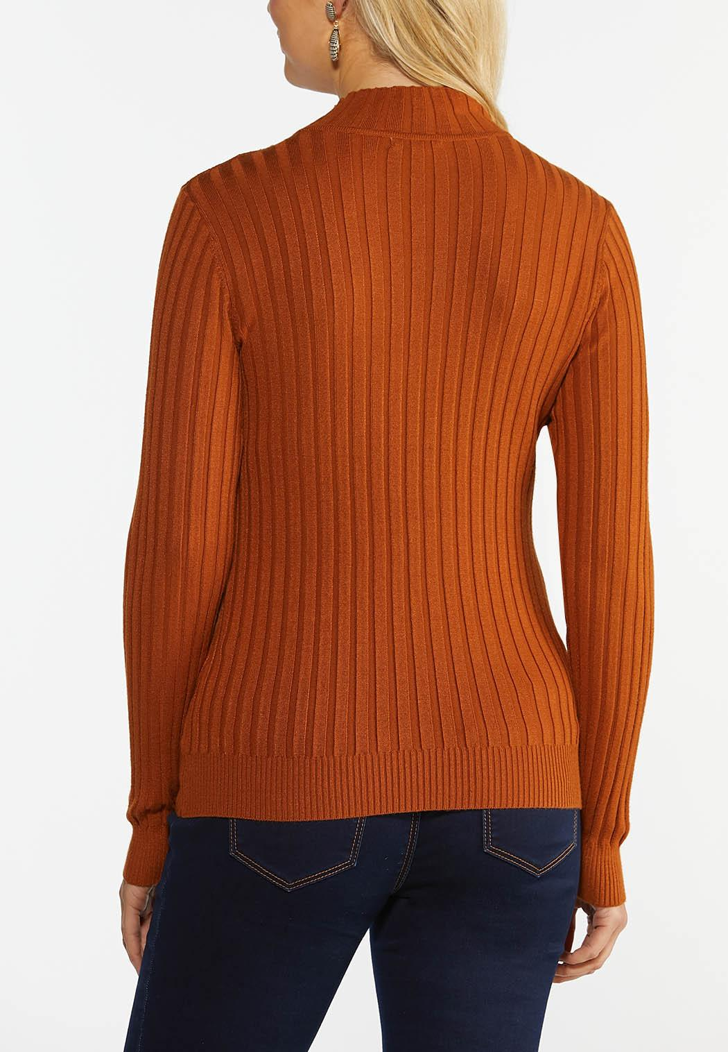 Plus Size Ribbed Mock Neck Sweater (Item #44385905)