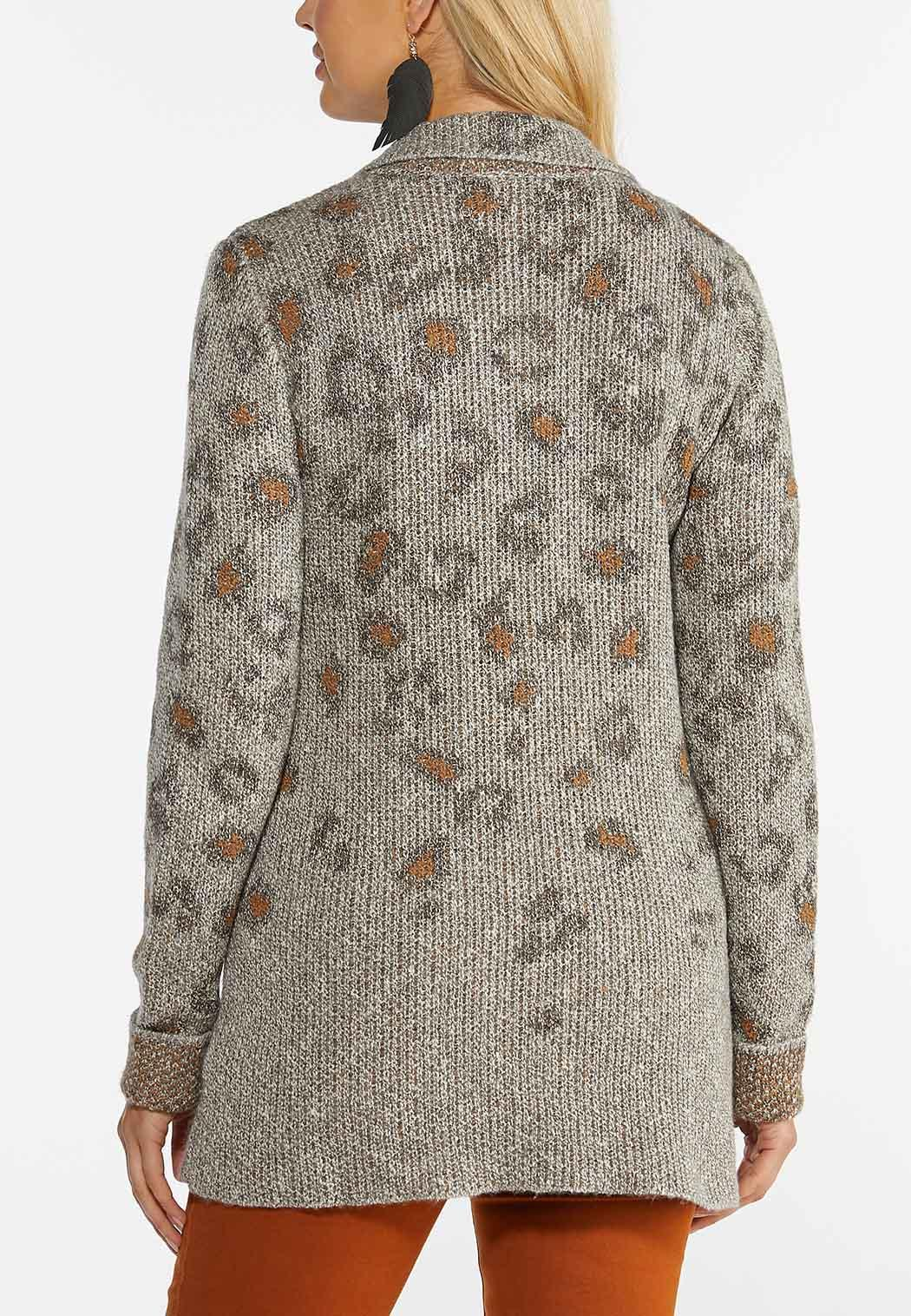 Plus Size Leopard Cardigan Sweater (Item #44386144)