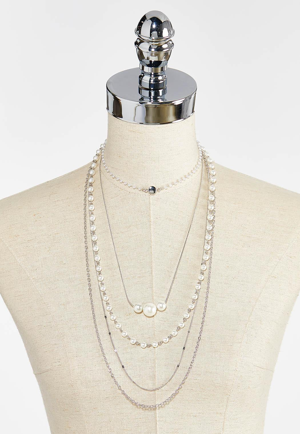 Layered Chain Pearl Necklace (Item #44386423)