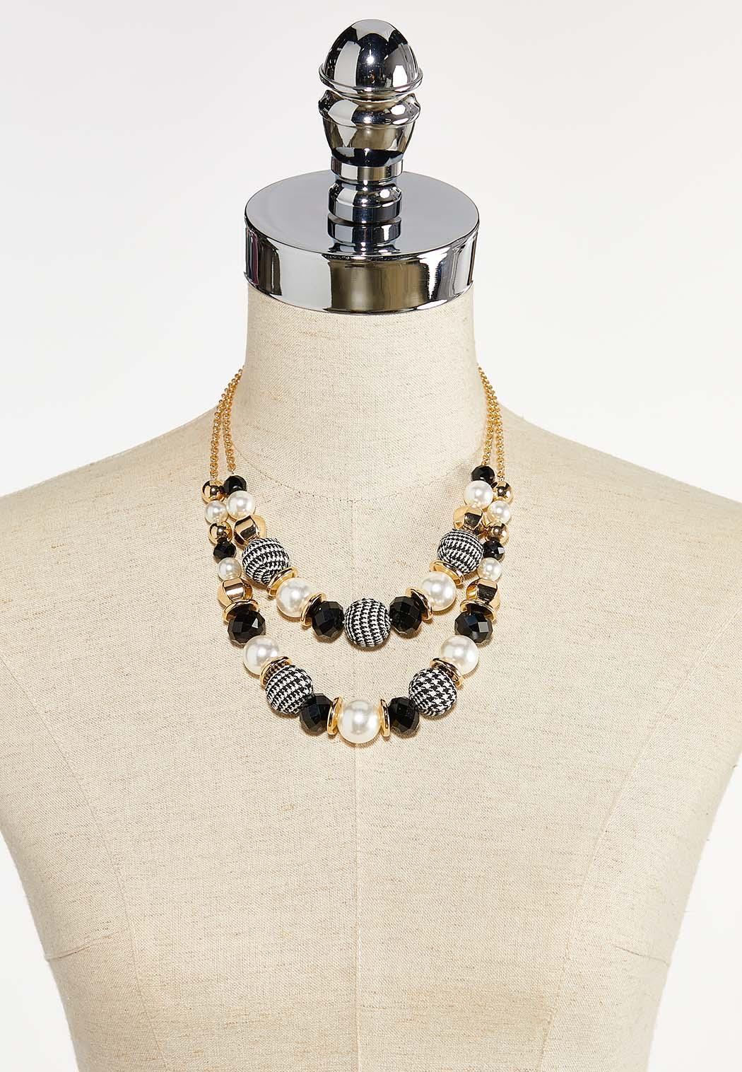 Layered Plaid Bead Necklace (Item #44386516)