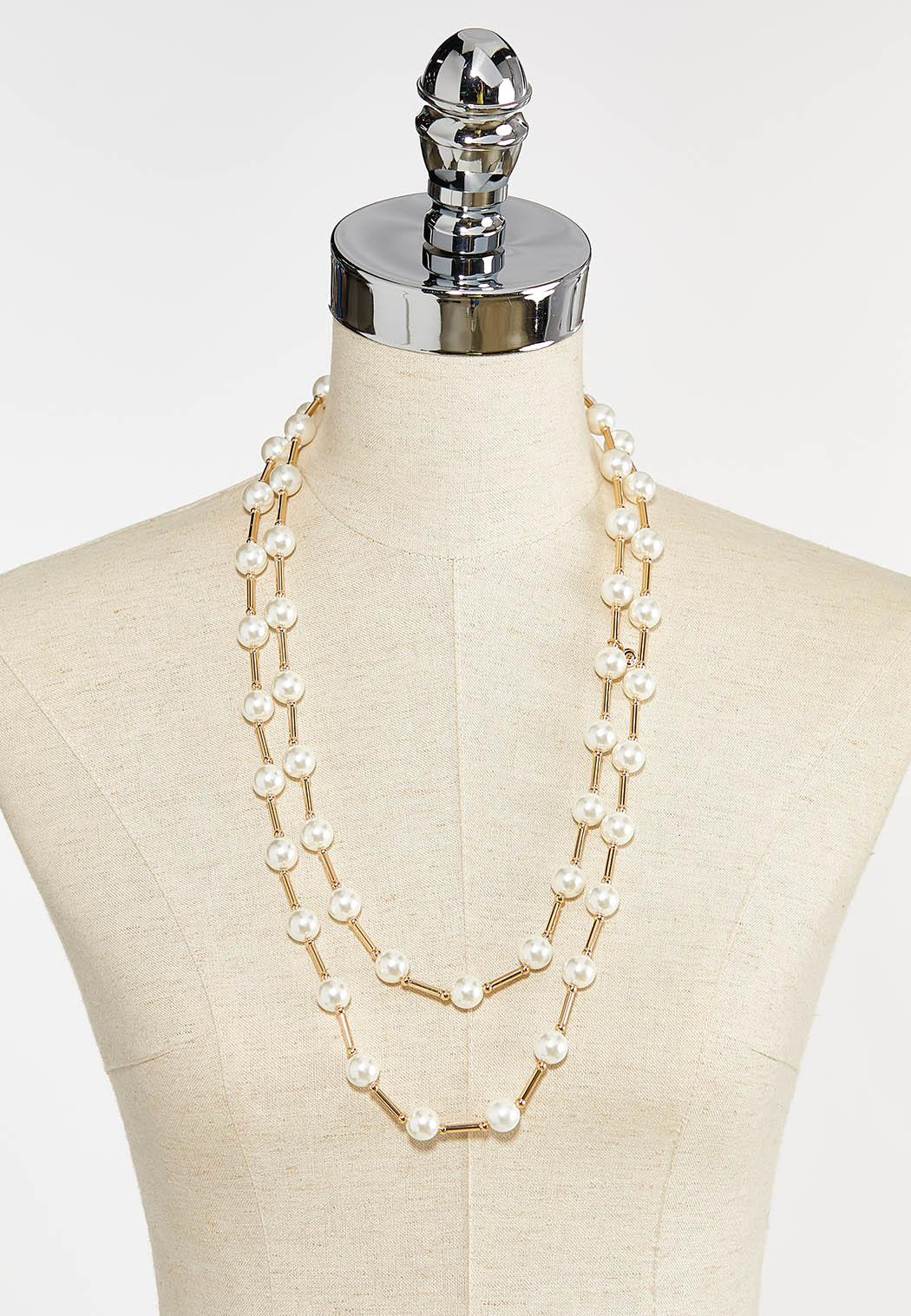 Layered Pearl Bar Necklace (Item #44386955)