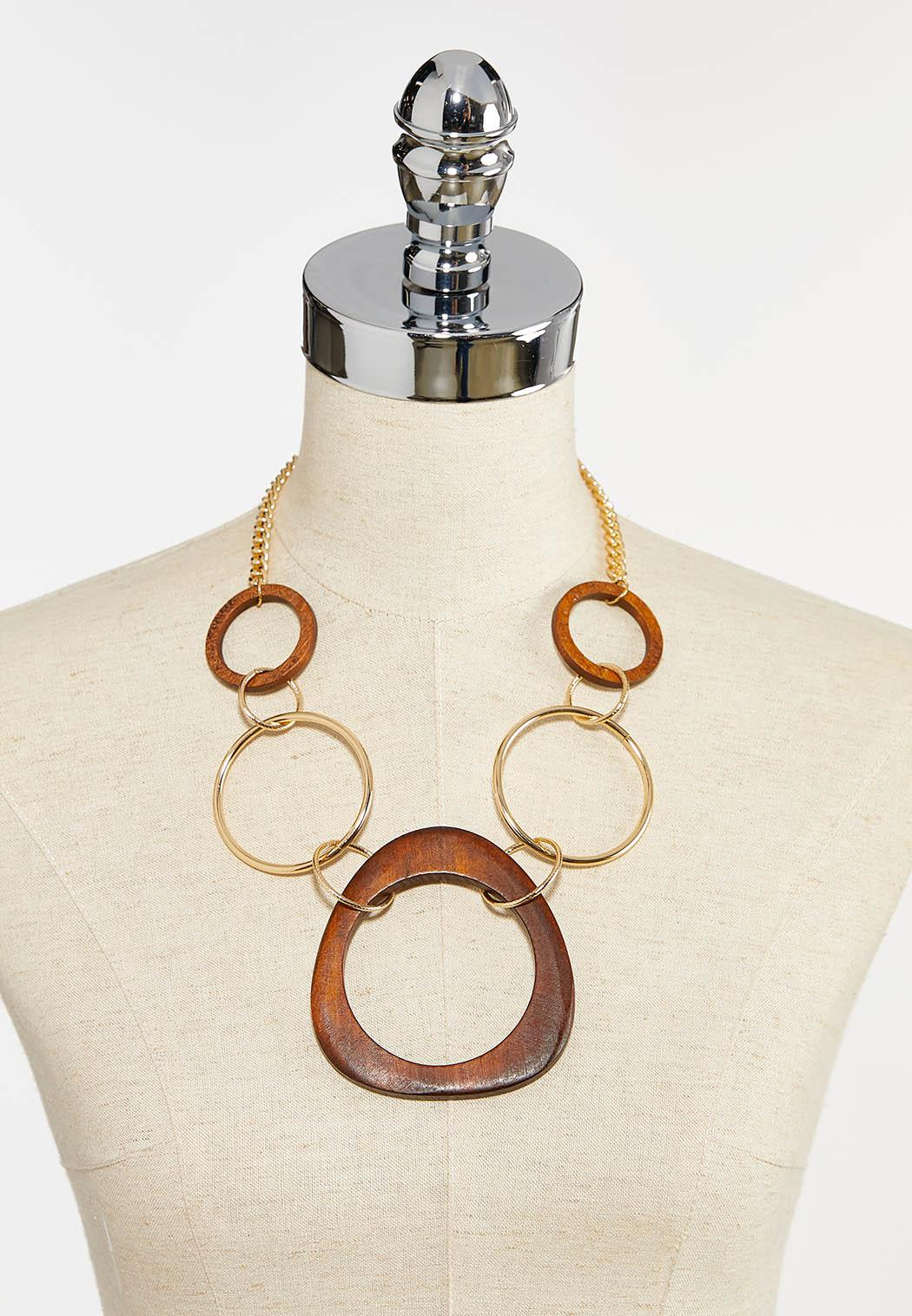 Wood Oval Pendant Necklace (Item #44387200)