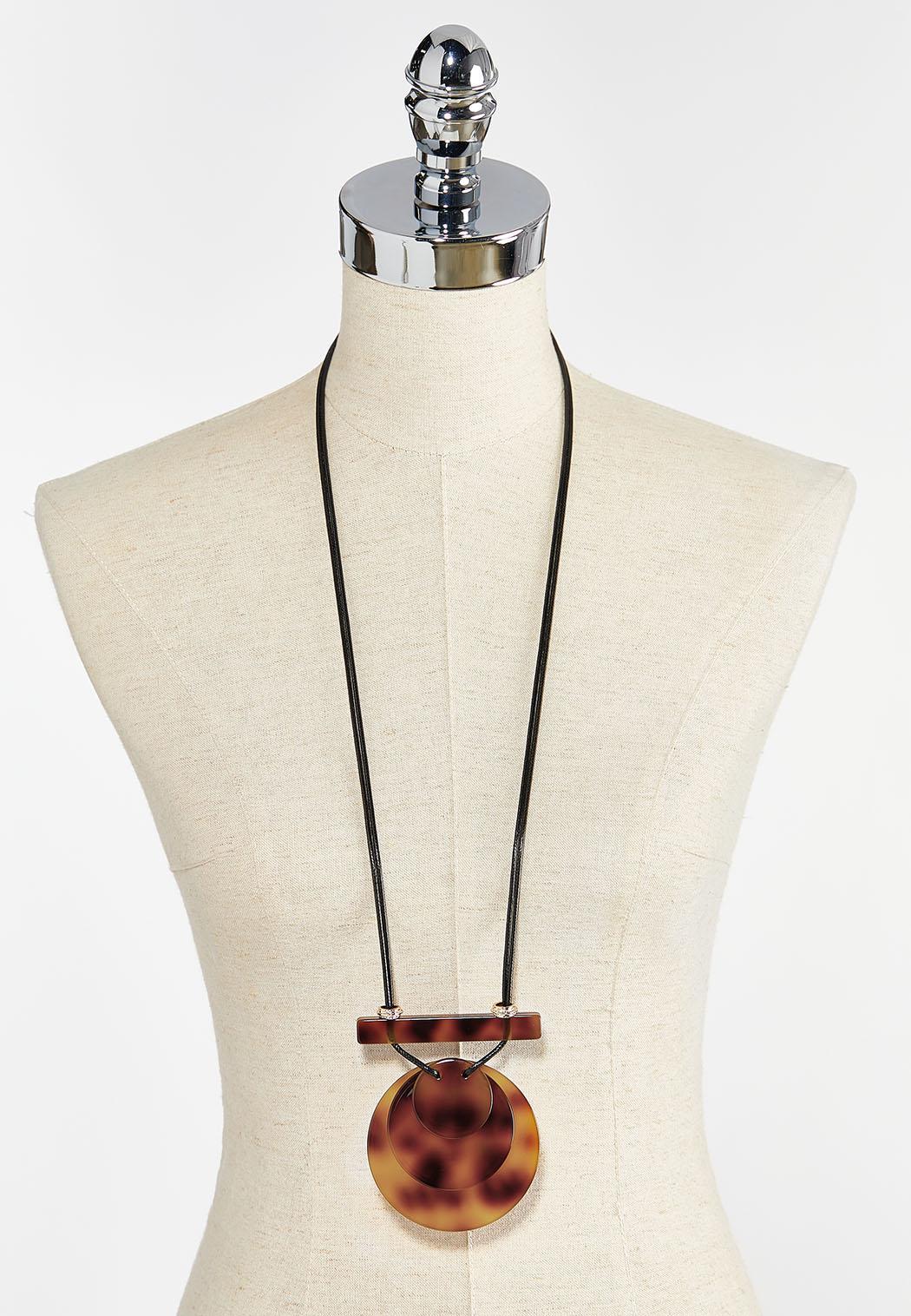 Tortoise Resin Pendant Necklace (Item #44387627)