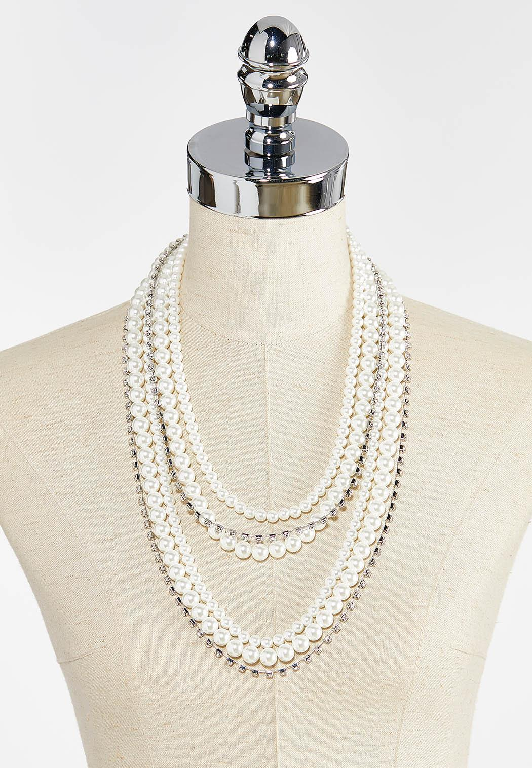 Layered Rhinestone Pearl Necklace (Item #44387669)