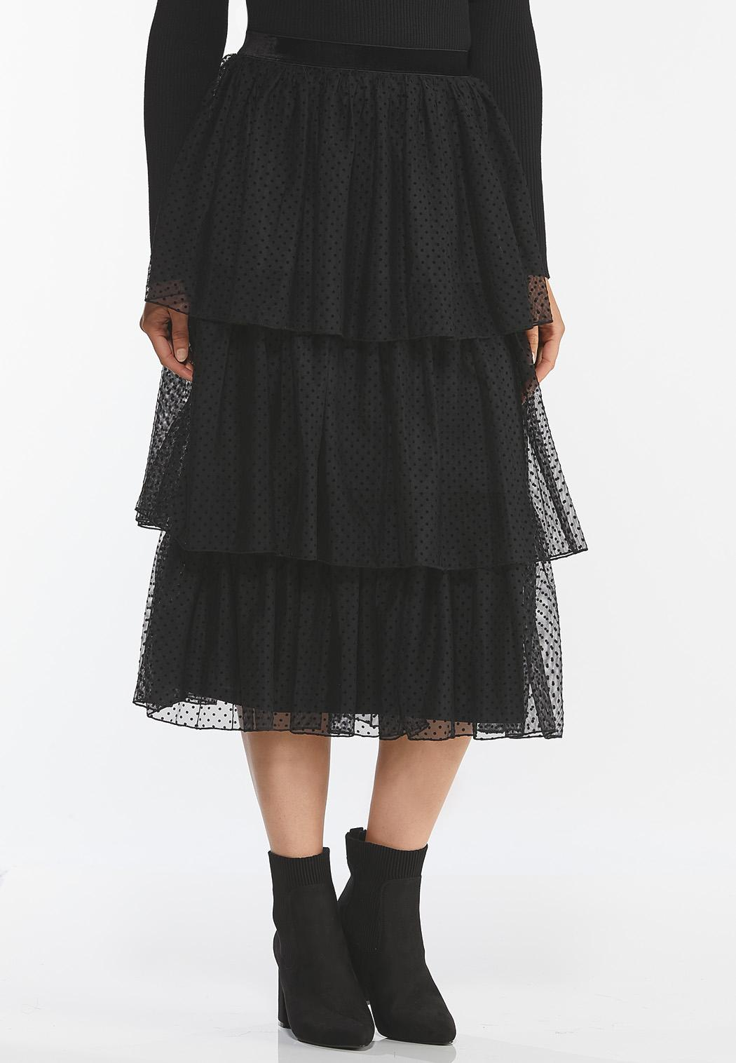 Dotted Tiered Midi Skirt (Item #44388015)