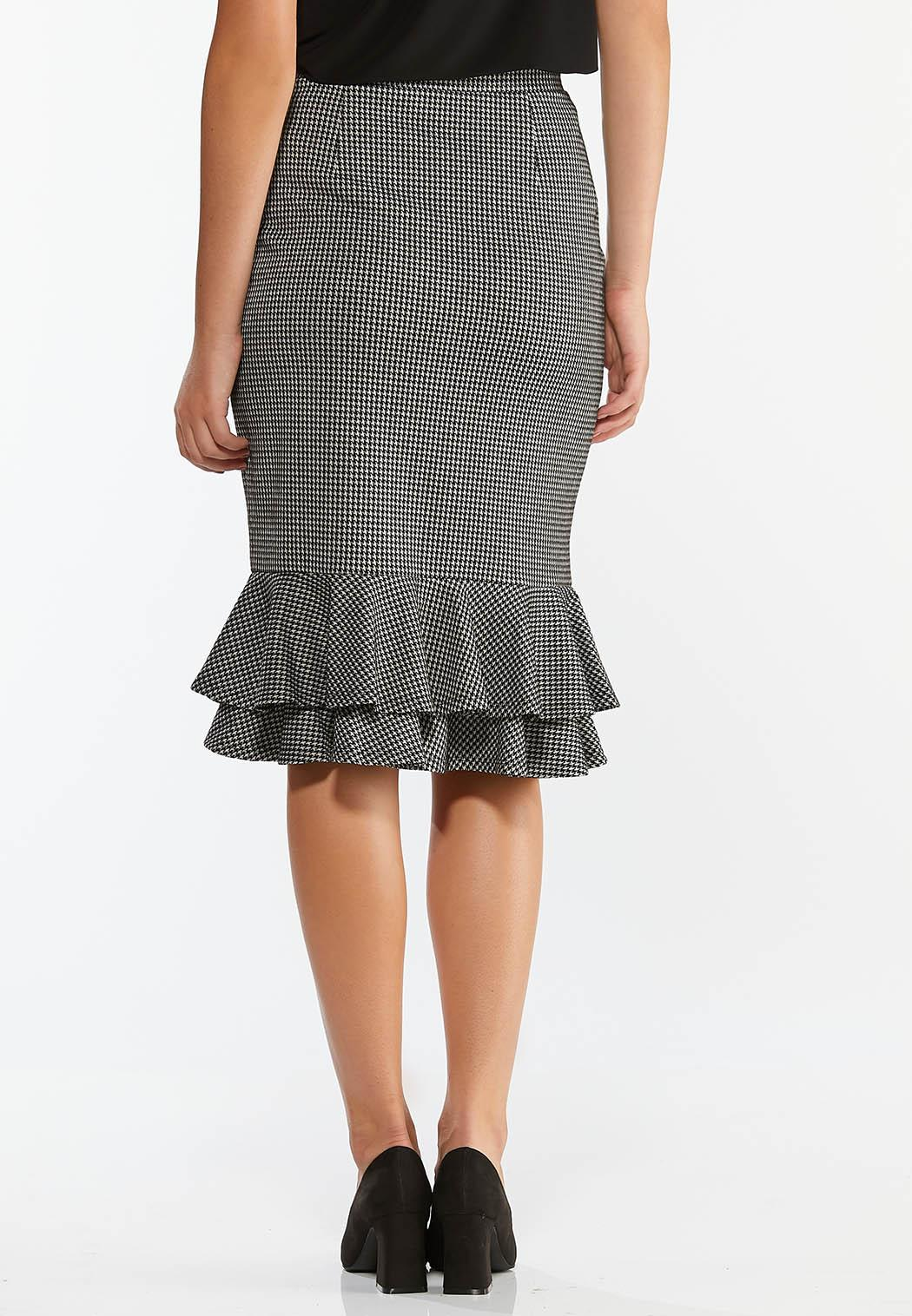 Plus Size Flounced Houndstooth Skirt (Item #44388035)