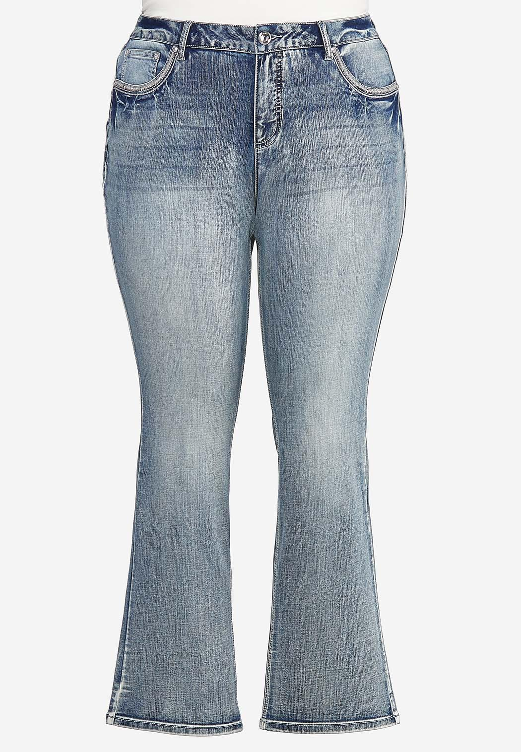 Plus Size Embellished Bootcut Jeans (Item #44388260)