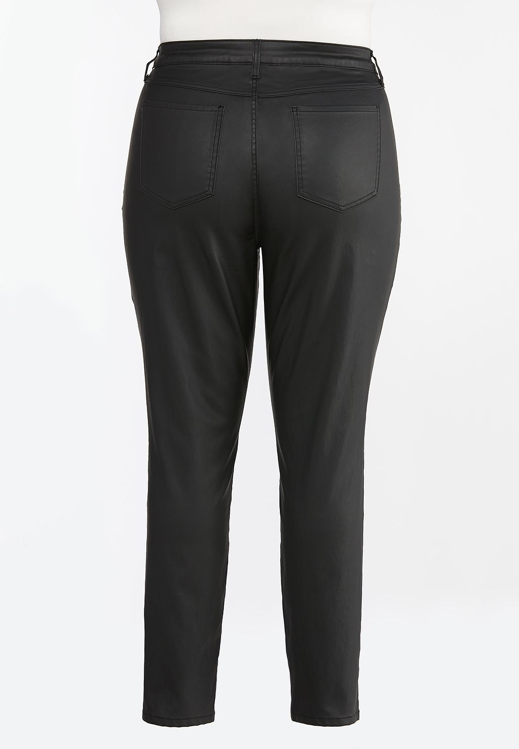 Plus Size Black Coated Skinny Jeans (Item #44388272)