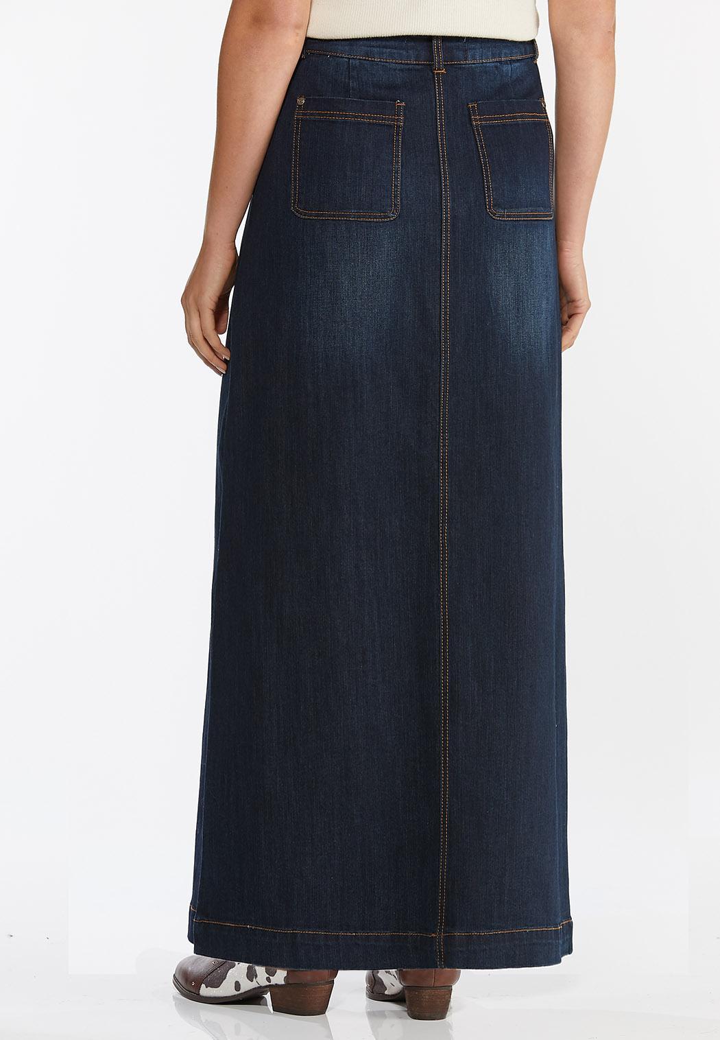 Plus Size Denim Button Down Maxi Skirt (Item #44388292)