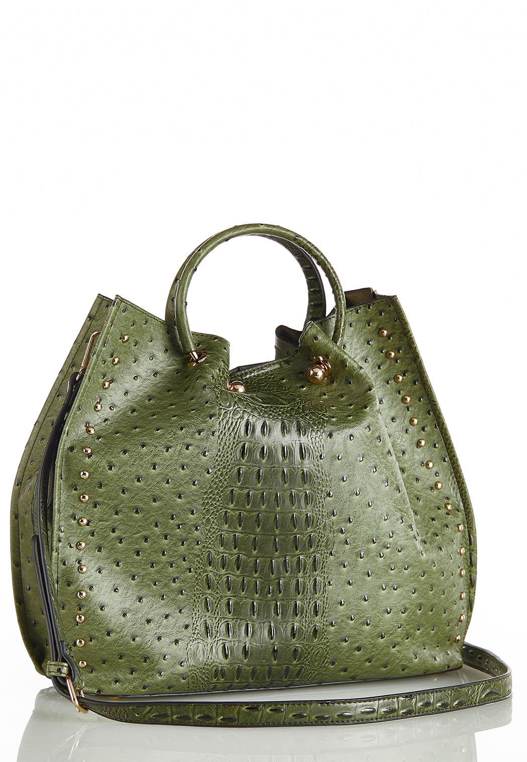 Oversized Cinched Ostrich Satchel (Item #44388308)