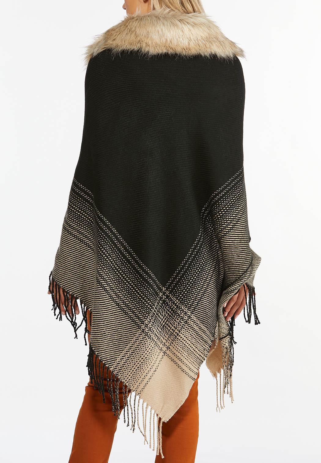 Fur Collar Sweater Poncho (Item #44388445)