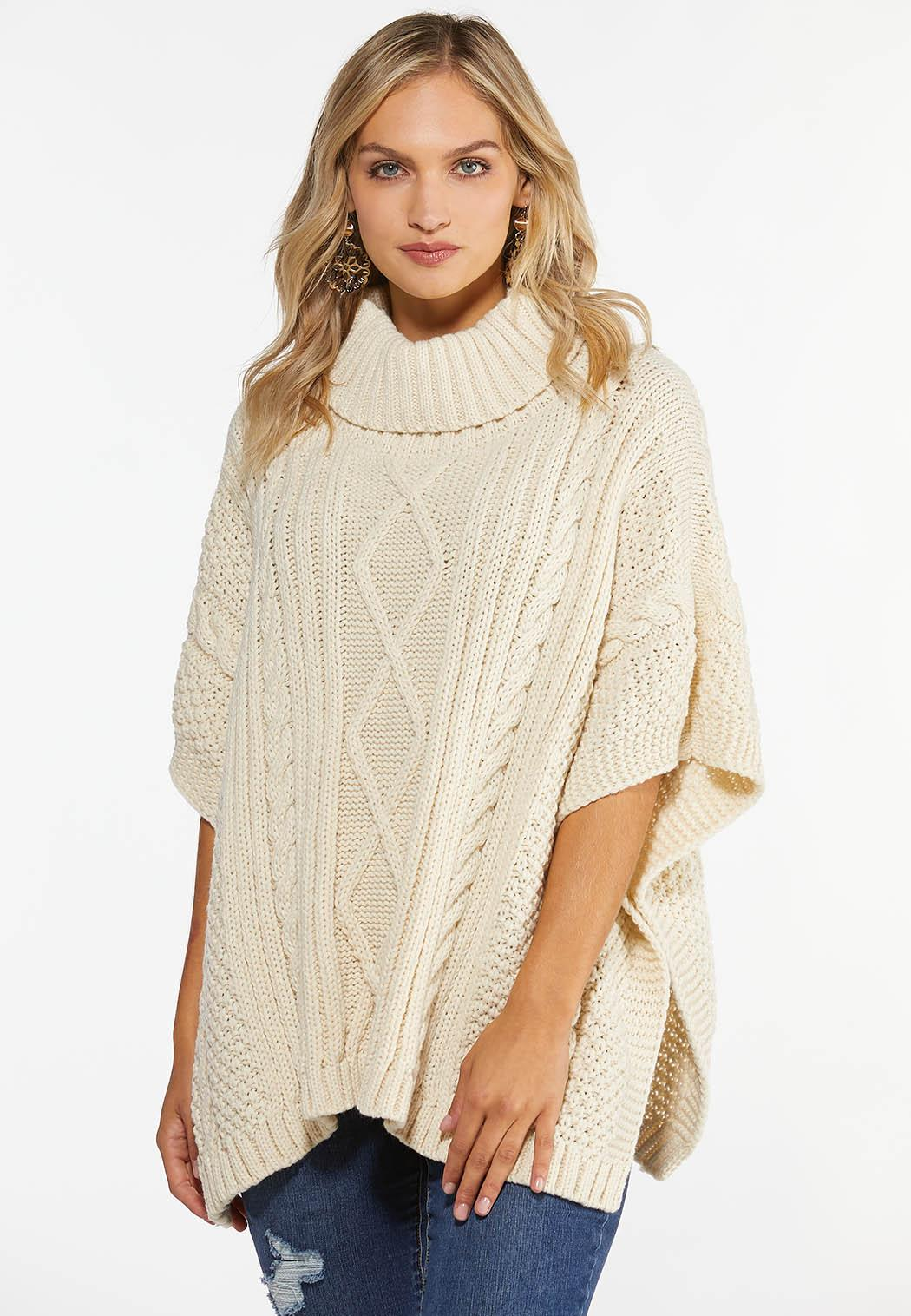 Cable Knit Poncho Sweater (Item #44388466)