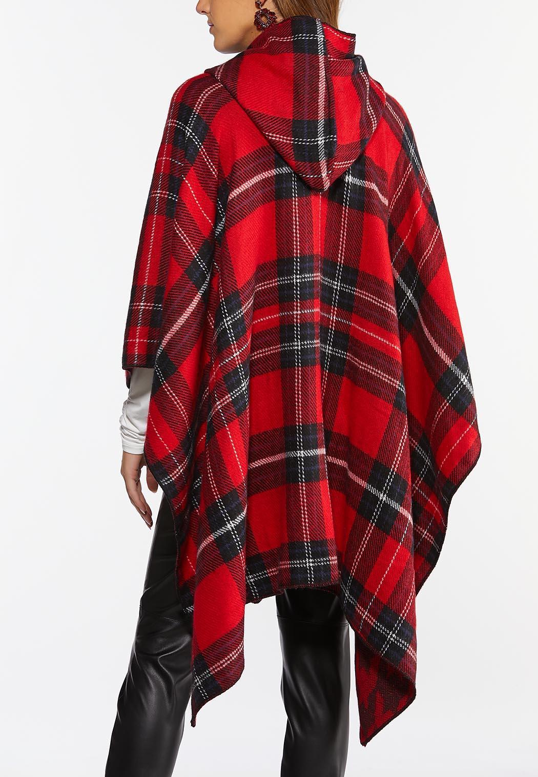 Hooded Plaid Poncho (Item #44388492)