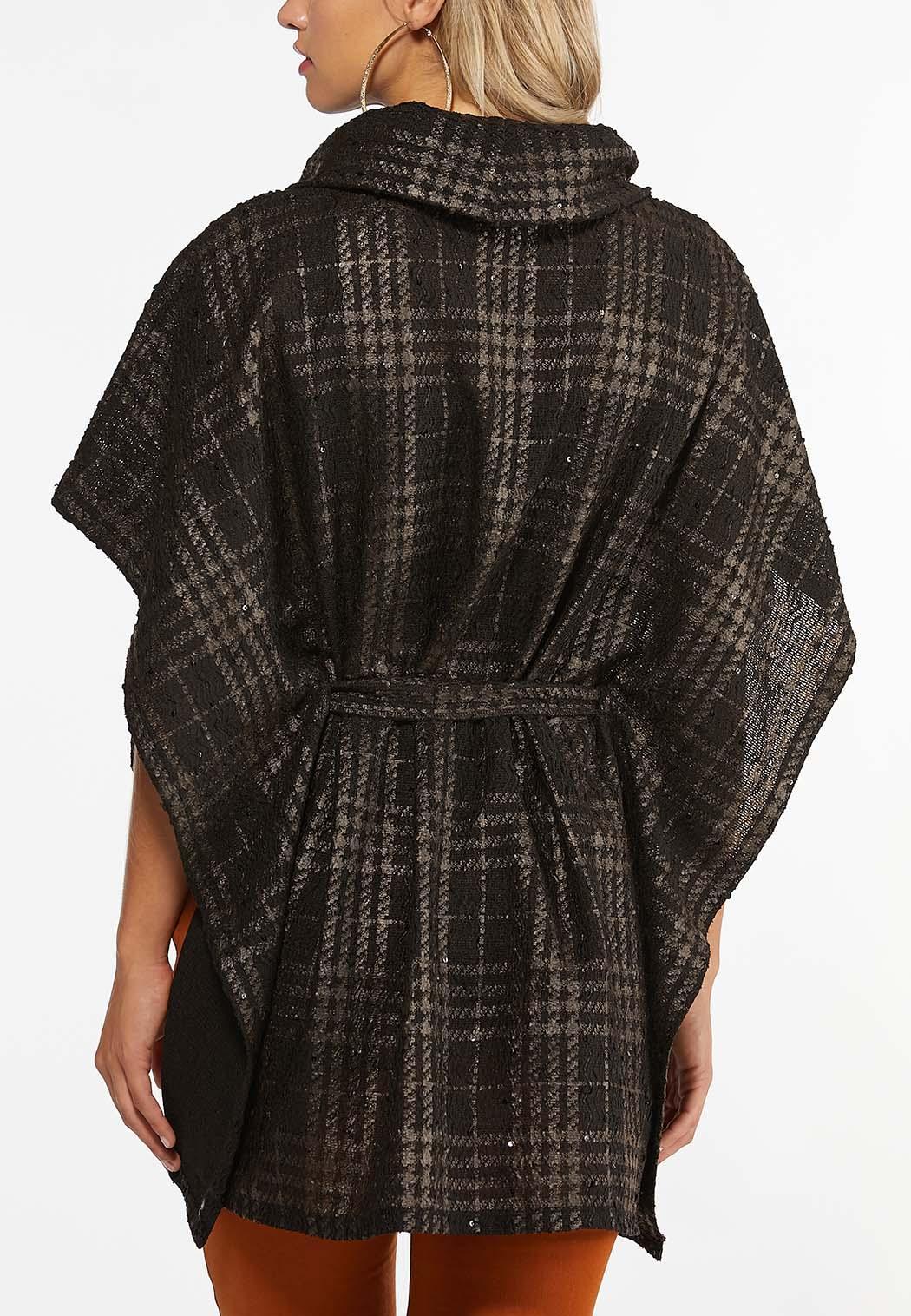 Sequin Embellished Plaid Poncho (Item #44388626)