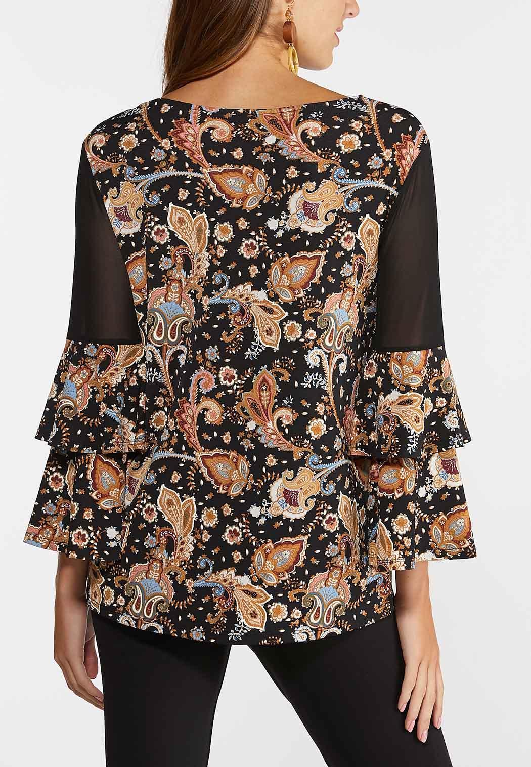 Plus Size Paisley Sheer Panel Sleeve Top (Item #44388946)