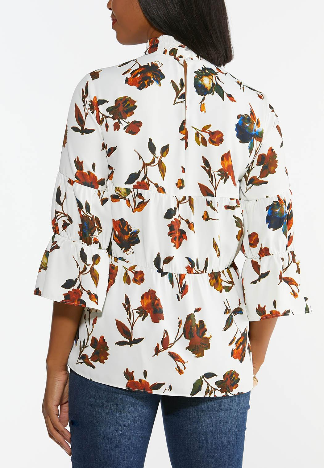 Plus Size Floral Mock Neck Poet Top (Item #44389392)