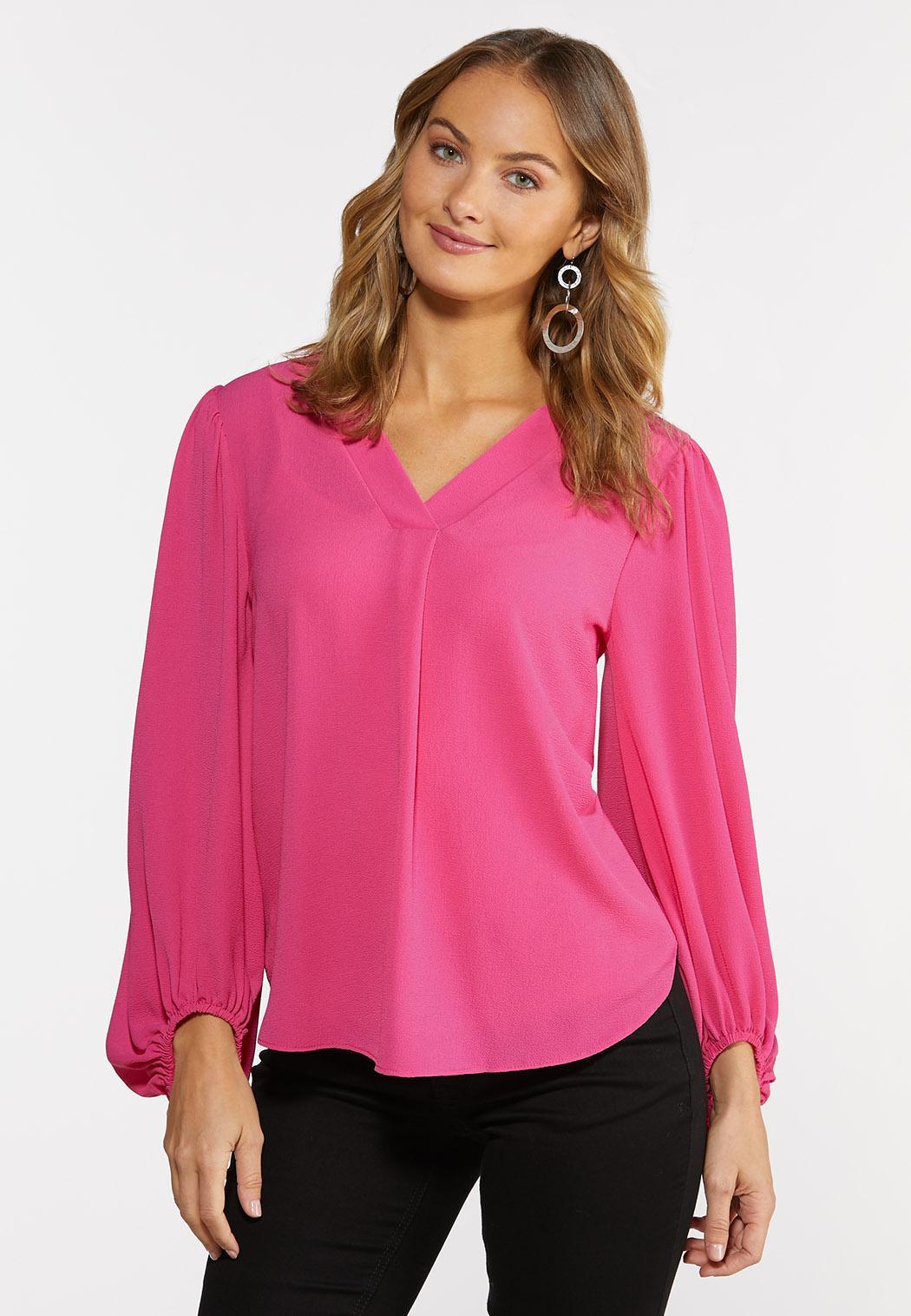 Plus Size Fuchsia Pullover Top (Item #44389441)