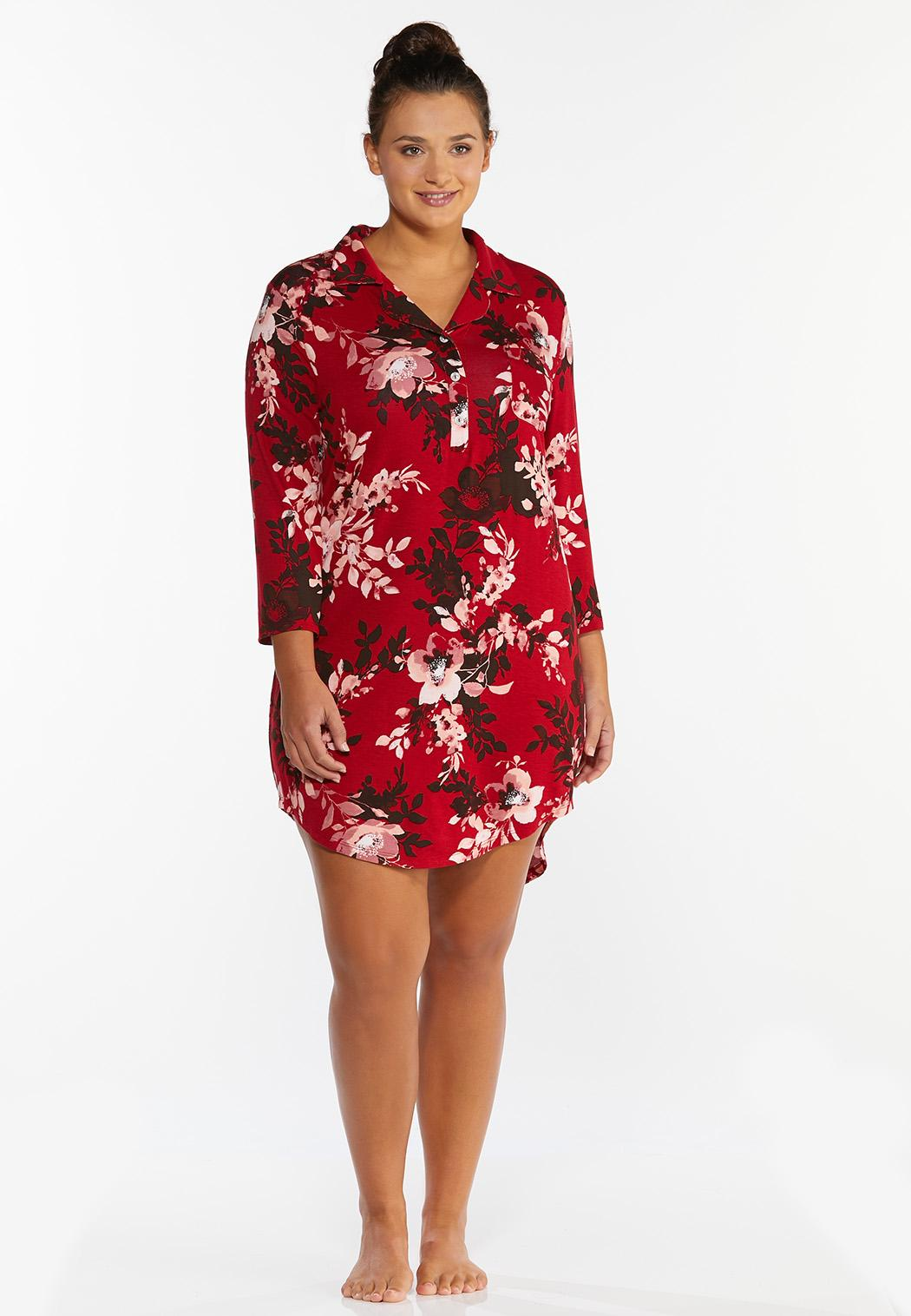 Plus Size Red Floral Sleep Shirt (Item #44390730)
