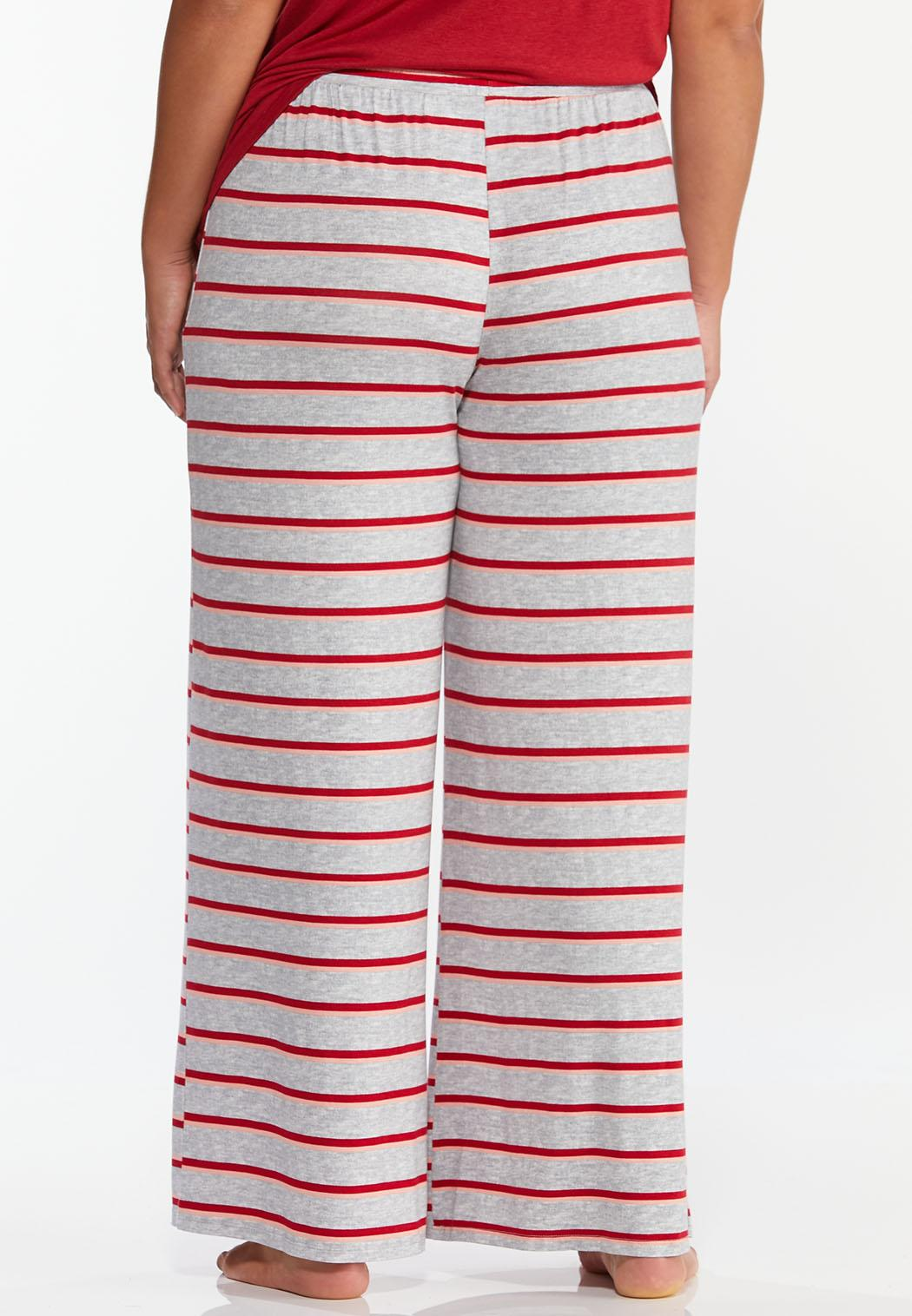 Plus Size Tasseled Stripe Sleep Pants (Item #44391158)