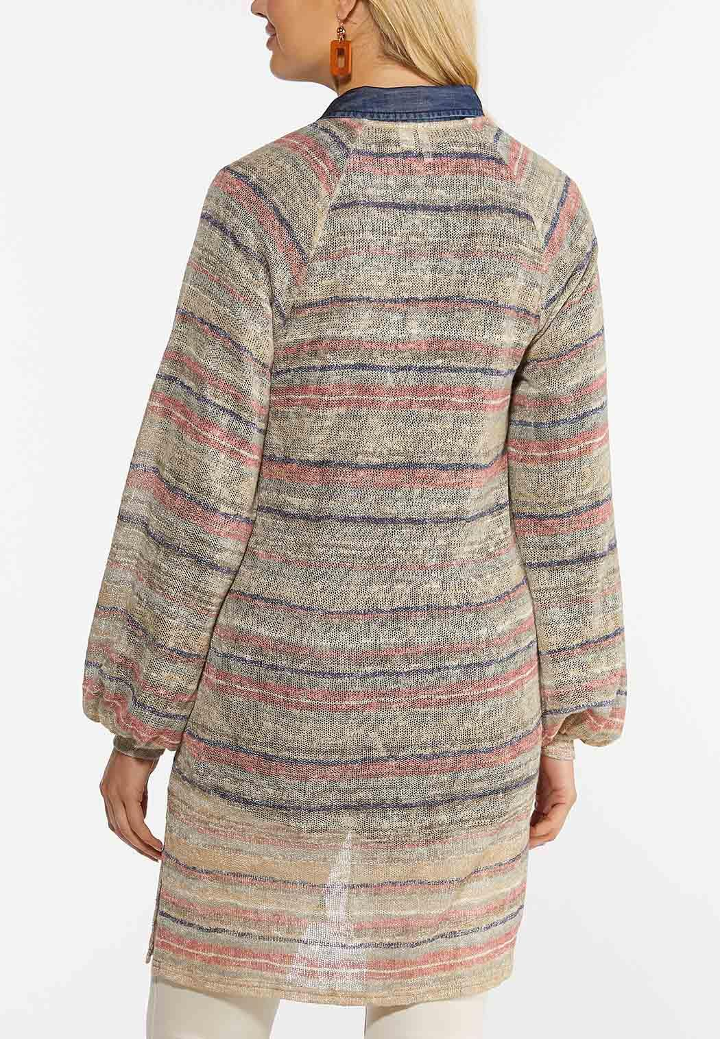 Plus Size Stripe Cardigan Sweater (Item #44391288)