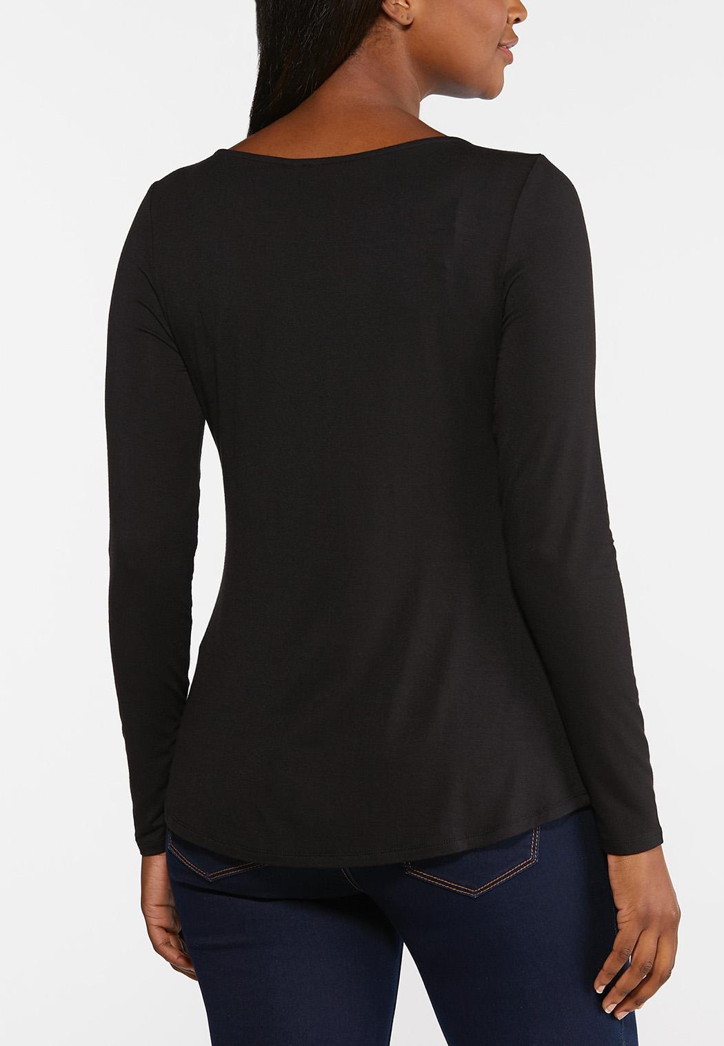 Plus Size Solid Scoop Neck Top (Item #44391763)