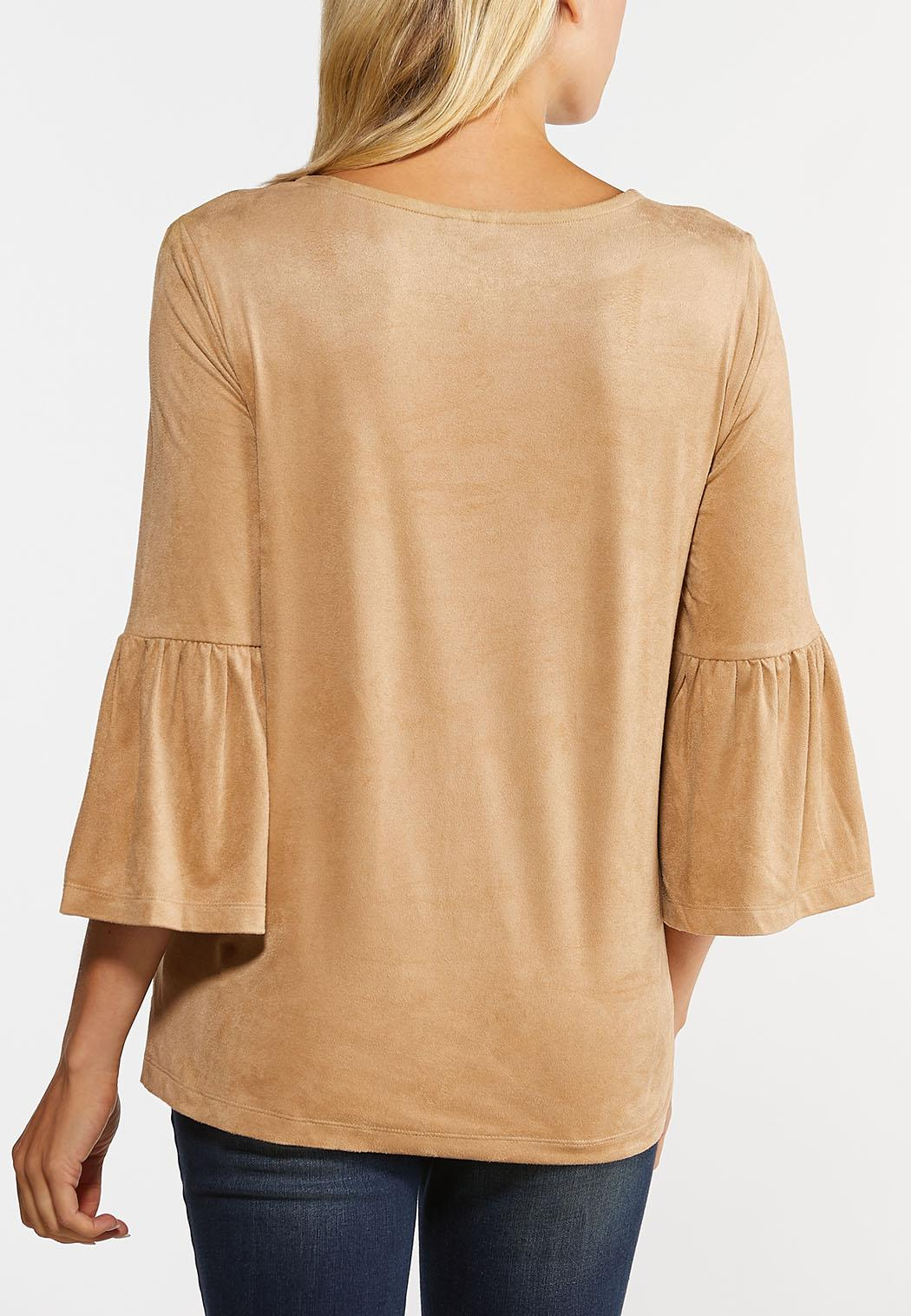Faux Suede Flounced Sleeve Top (Item #44391886)