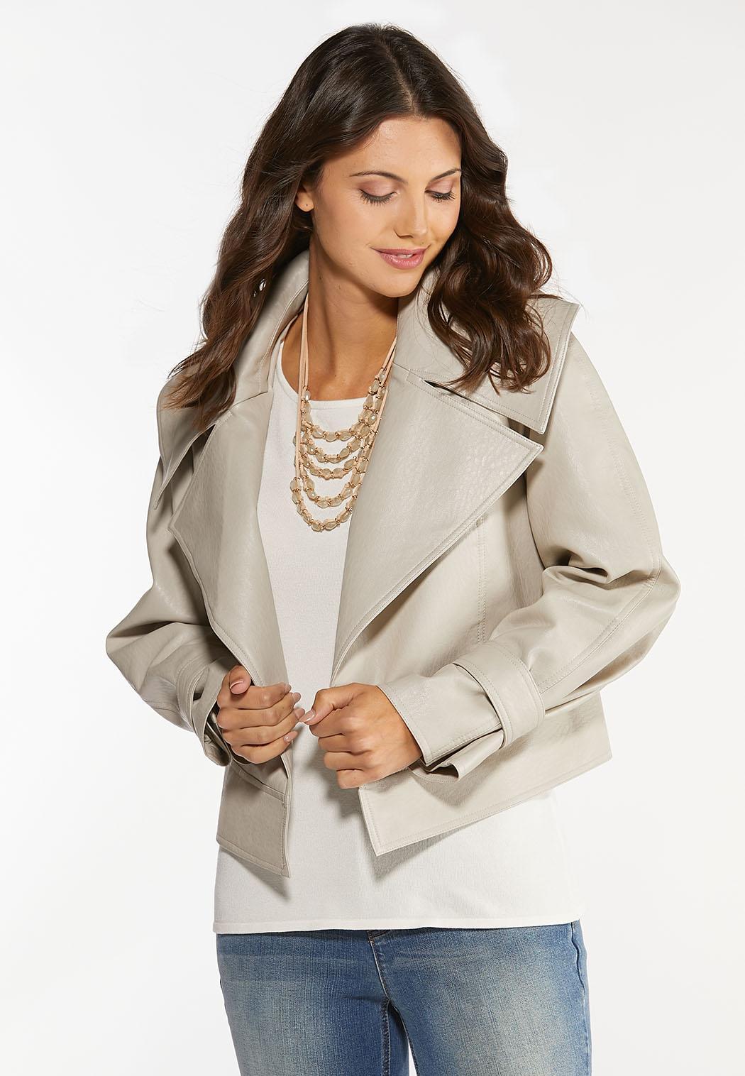 Beige Faux Leather Jacket (Item #44391896)