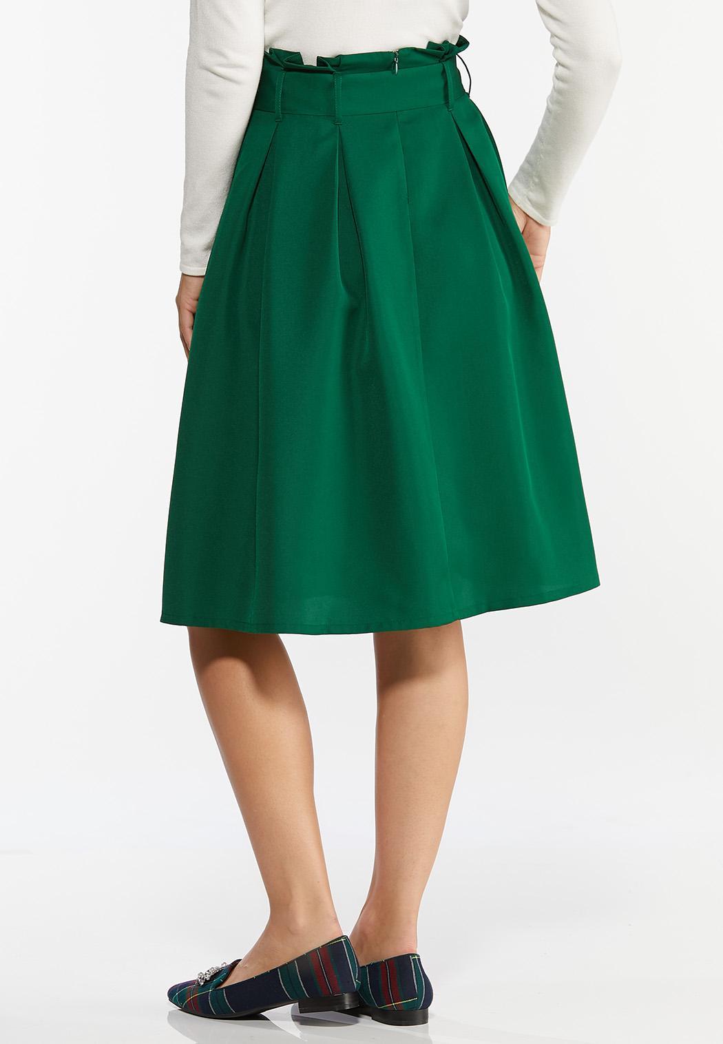 Green Belted Paperbag Skirt (Item #44392418)