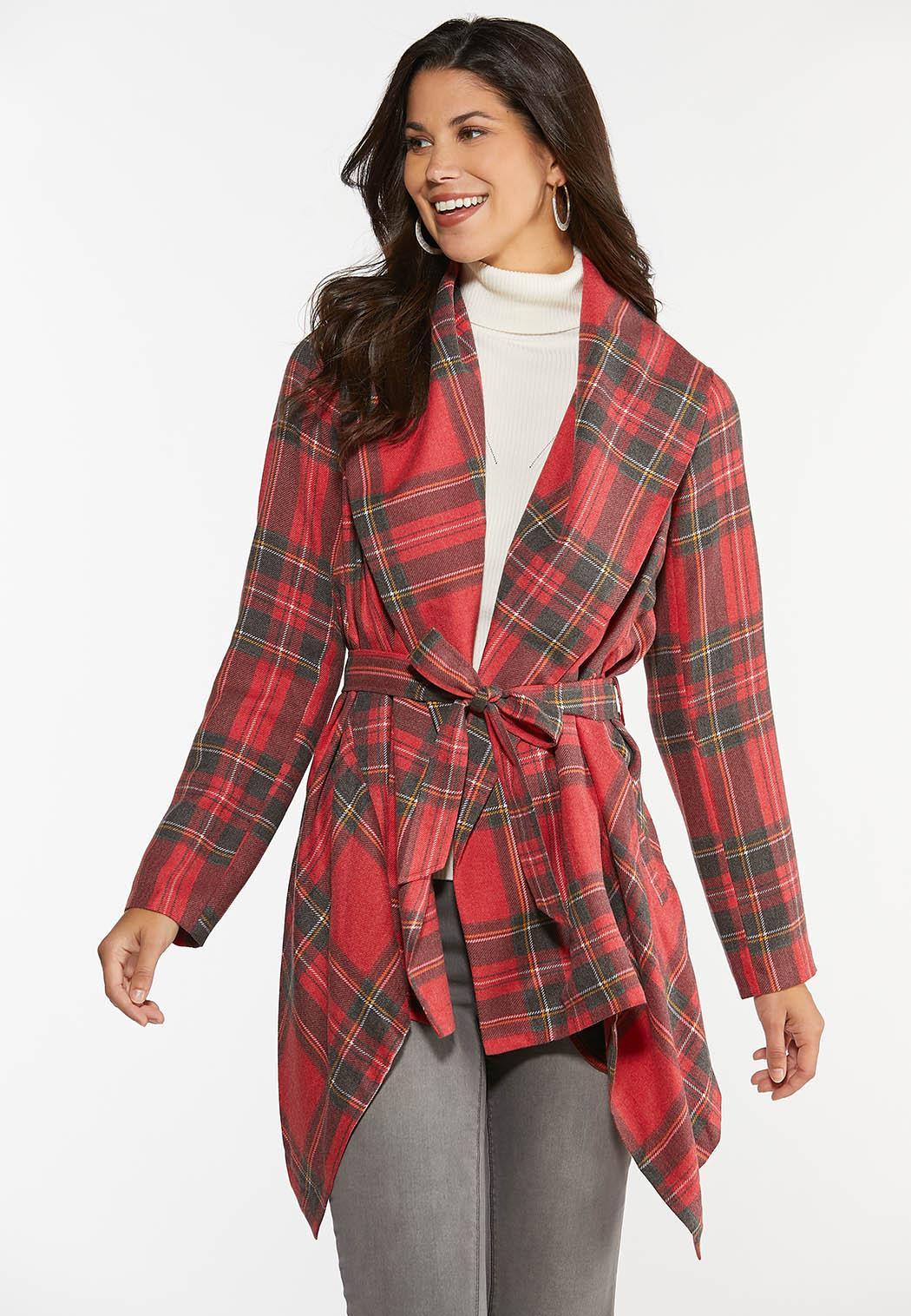 Plus Size Noel Plaid Belted Jacket (Item #44392508)