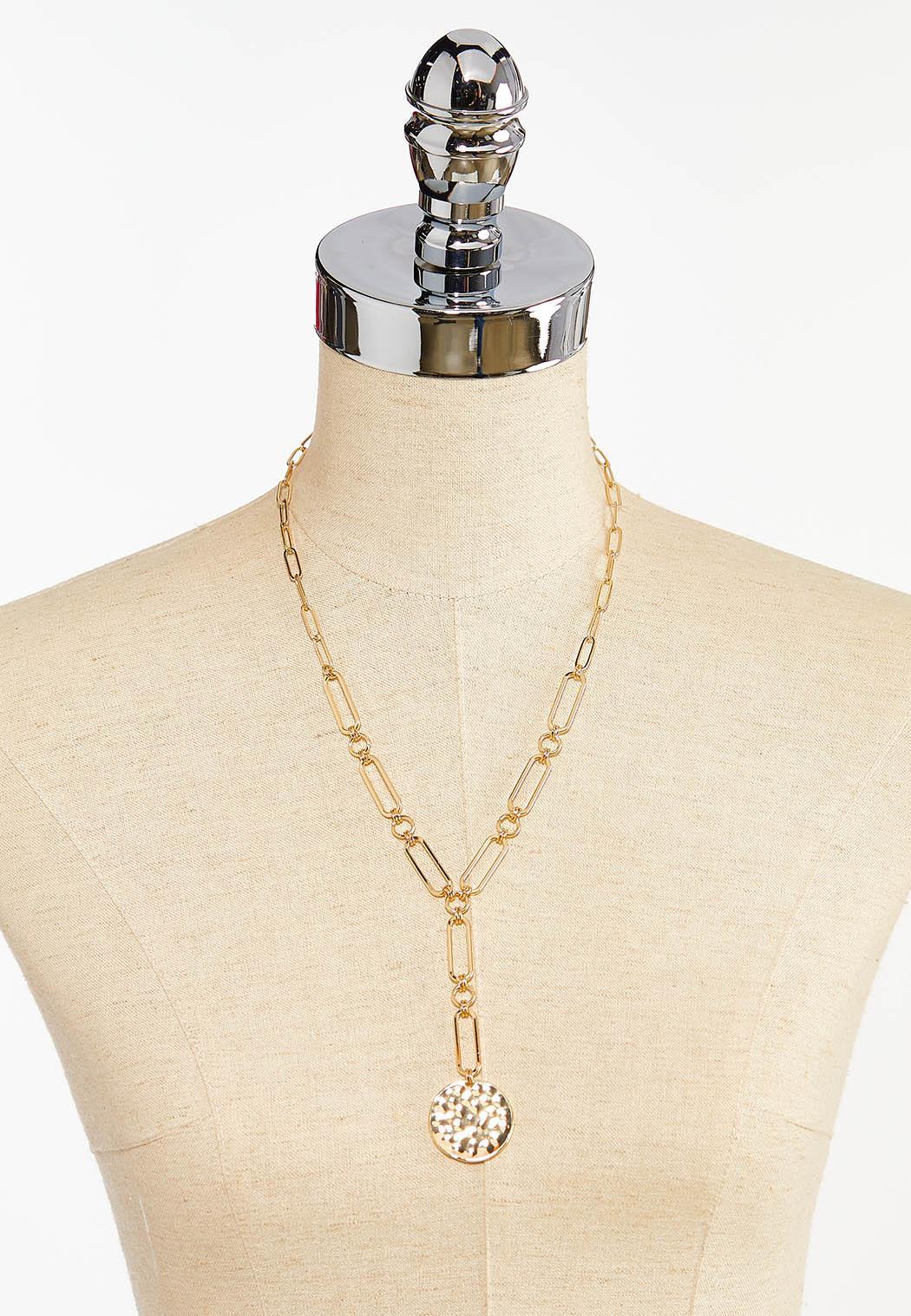 Hammered Metal Y-Necklace (Item #44393172)