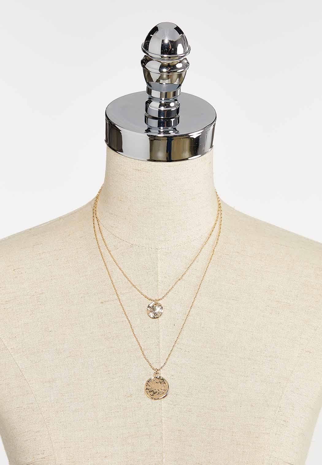 Layered Gold Disc Necklace (Item #44393185)