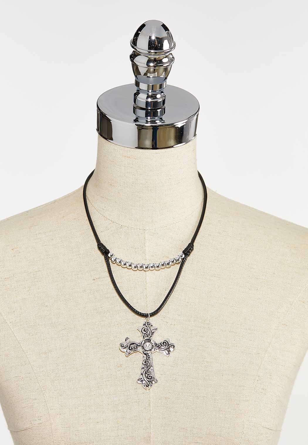 Etched Cross Cord Necklace (Item #44393455)