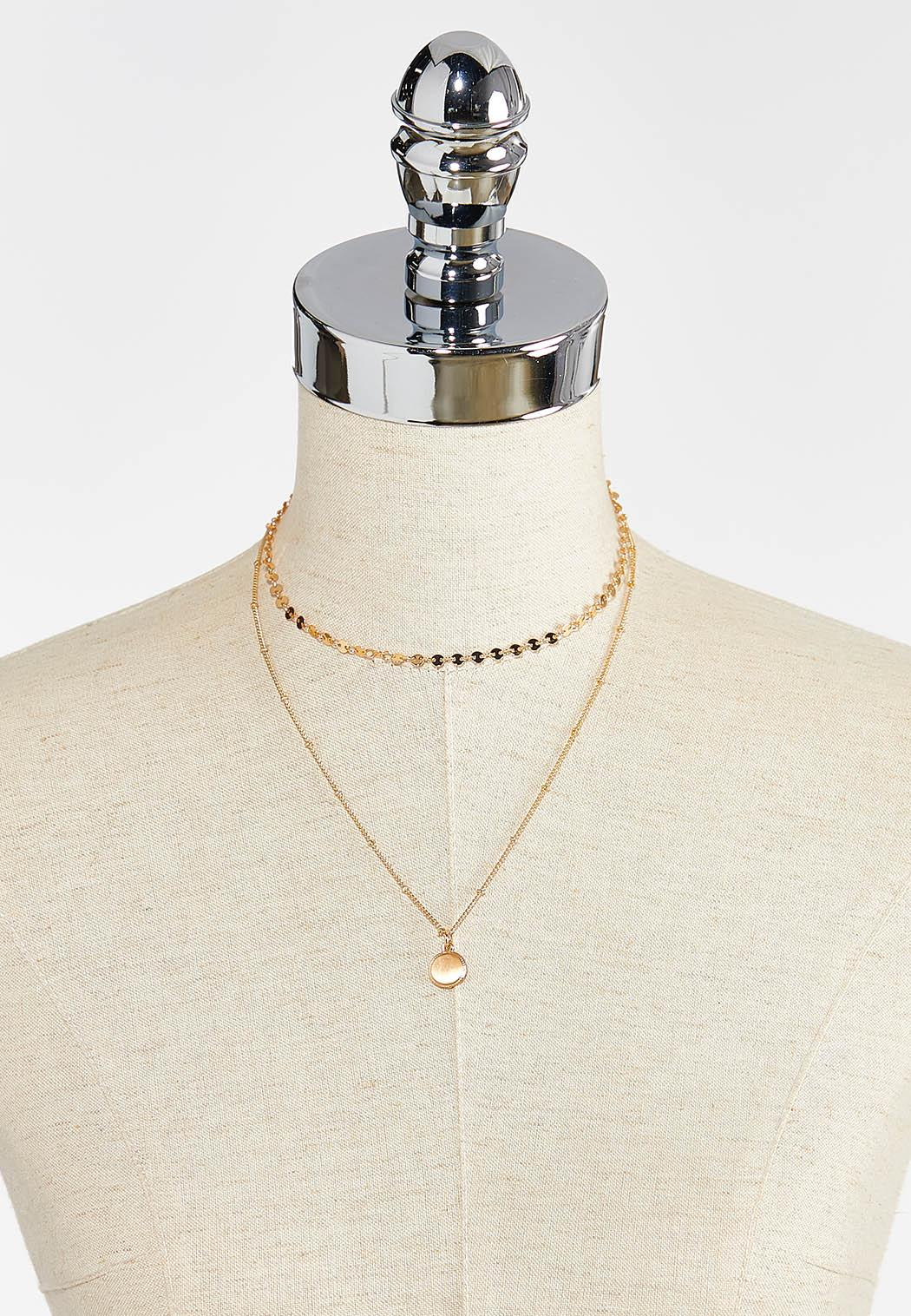 Delicate Layered Disk Necklace (Item #44394046)