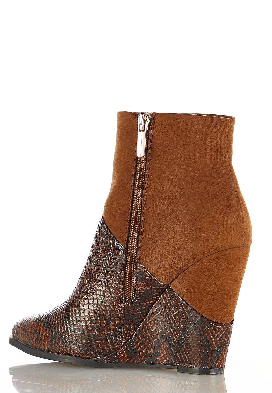 Mixed Faux Animal Wedge Booties (Item #44394080)