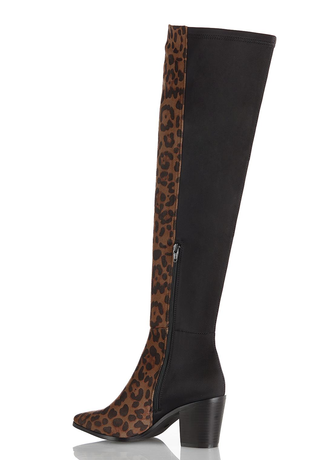 Wide Width Solid Leopard Over The Knee Boots (Item #44394469)