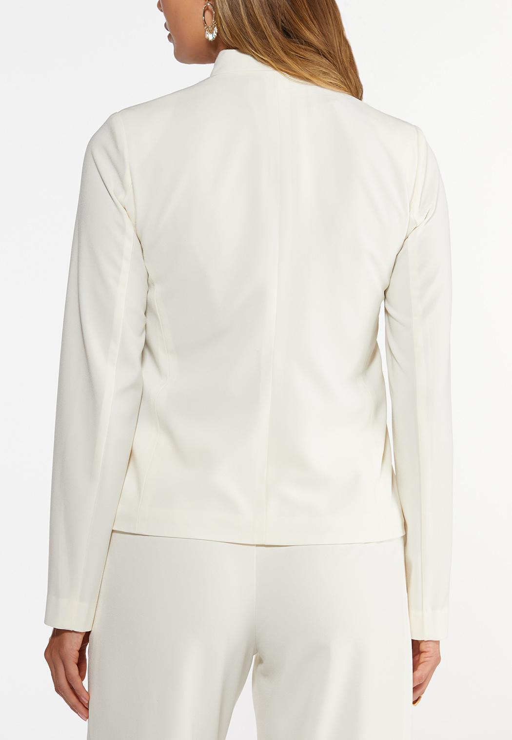 Plus Size Solid Crepe Blazer (Item #44395867)